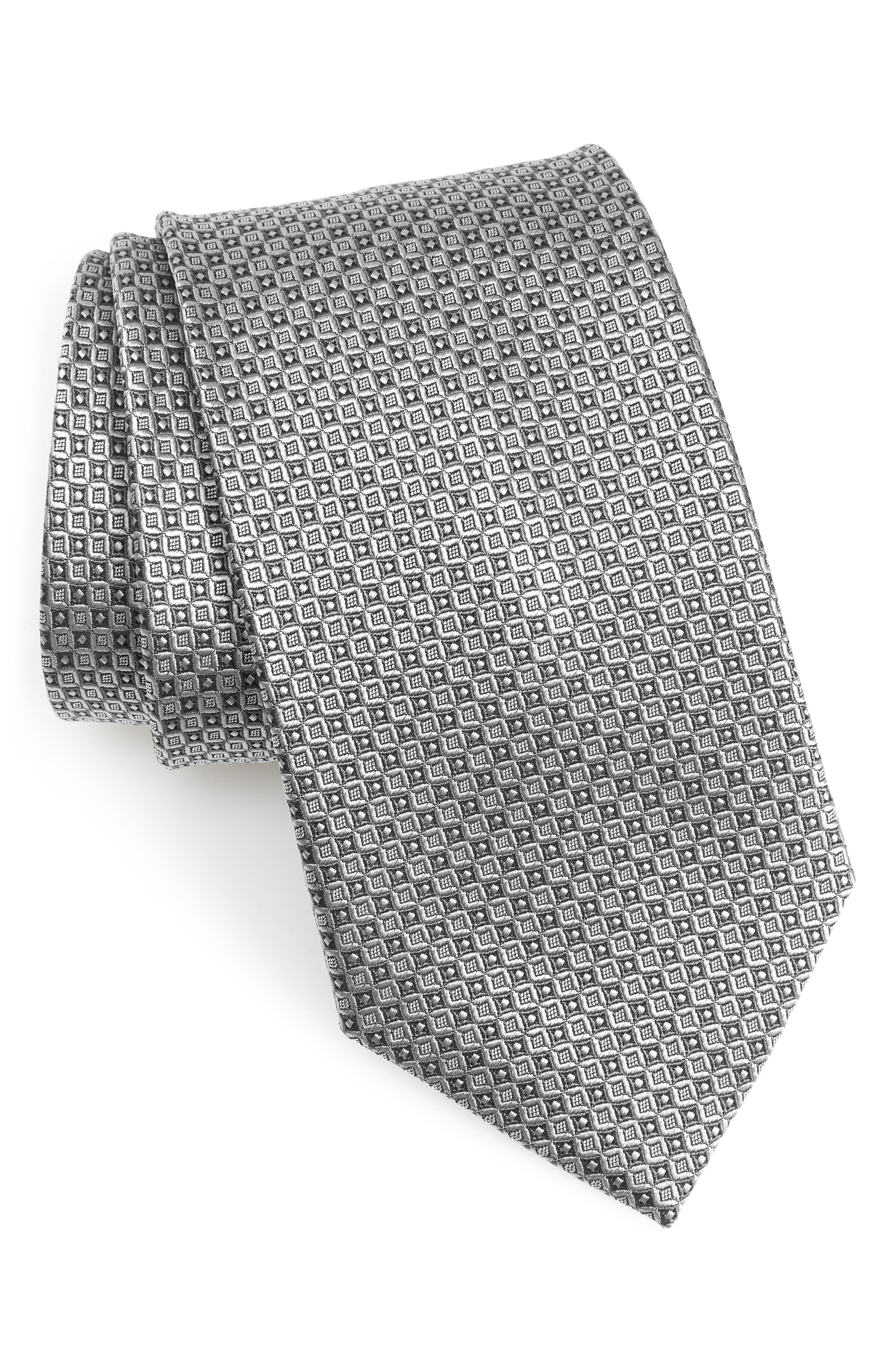 Grid Silk X-Long Tie,                             Main thumbnail 1, color,                             SILVER