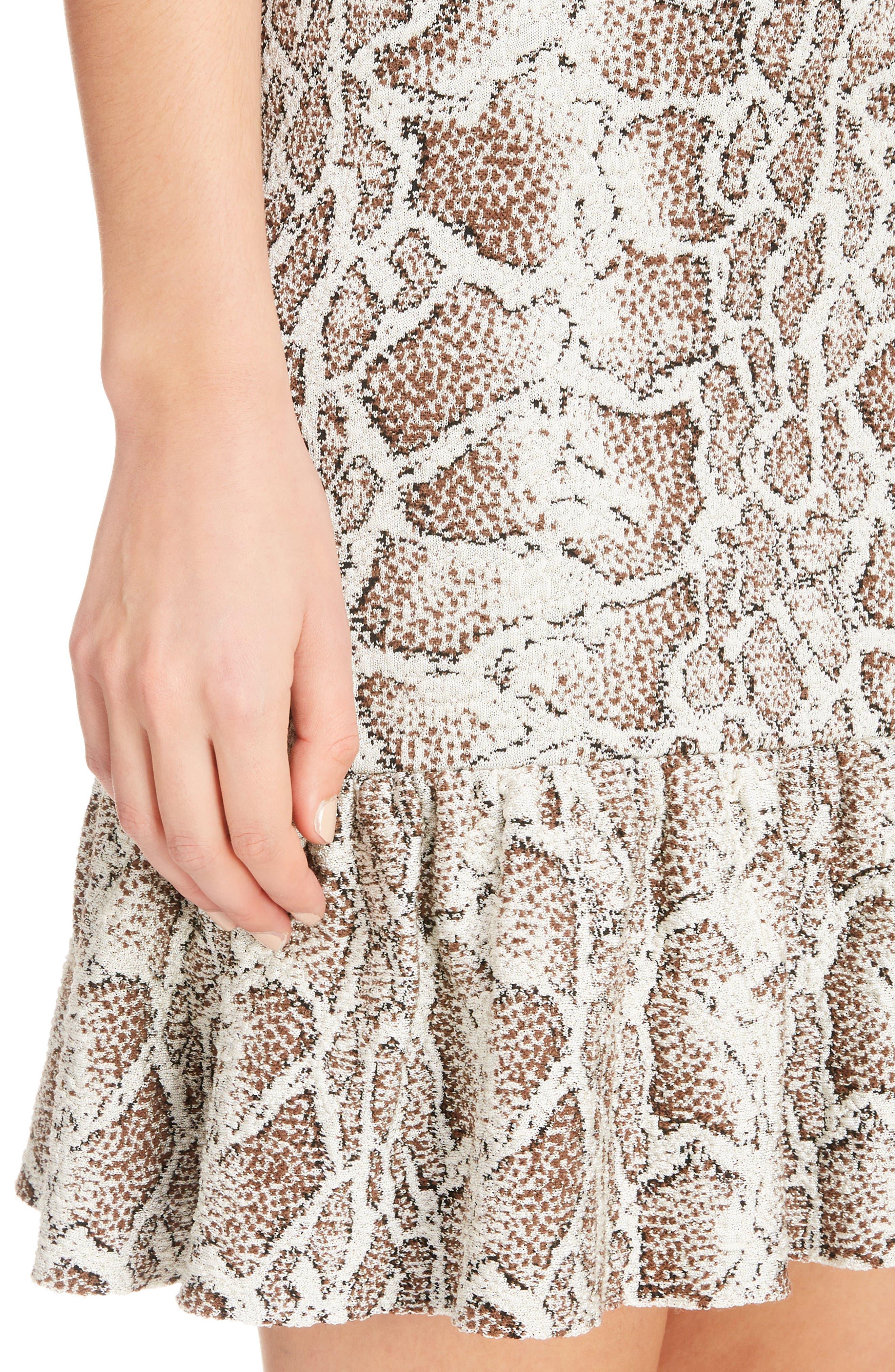 Python Jacquard Ruffle Hem Dress,                             Alternate thumbnail 4, color,                             240