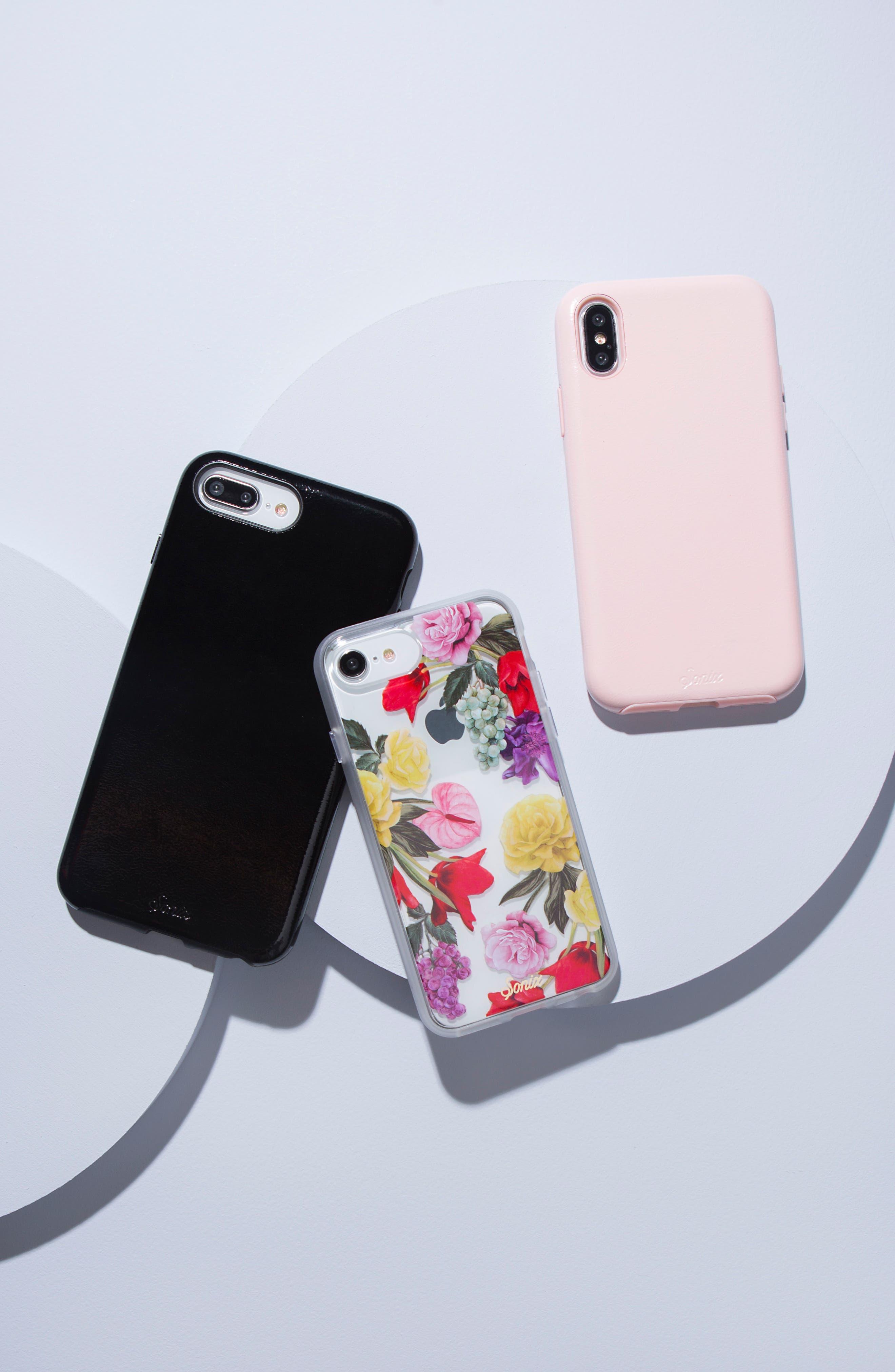 Cherry Faux Leather iPhone 6/6s/7/8 Plus Case,                             Alternate thumbnail 3, color,                             BLACK