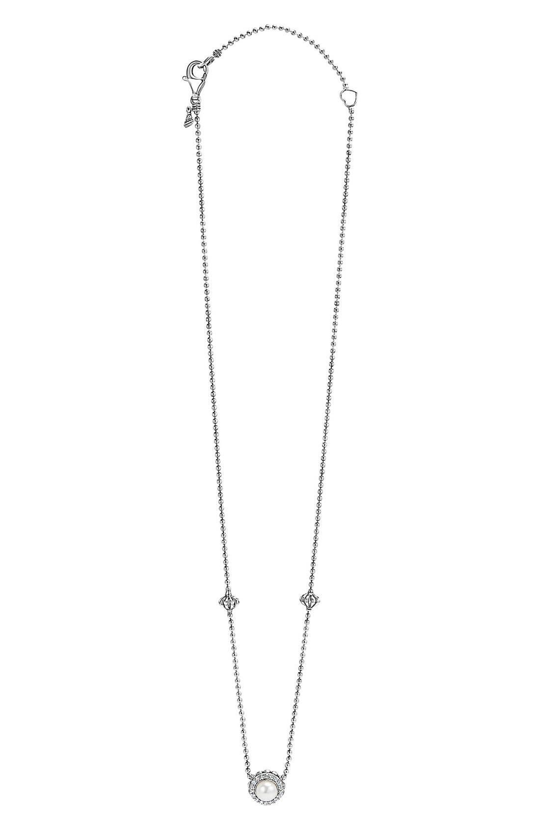 'Luna' Pearl & Diamond Pendant Necklace,                             Alternate thumbnail 2, color,                             040