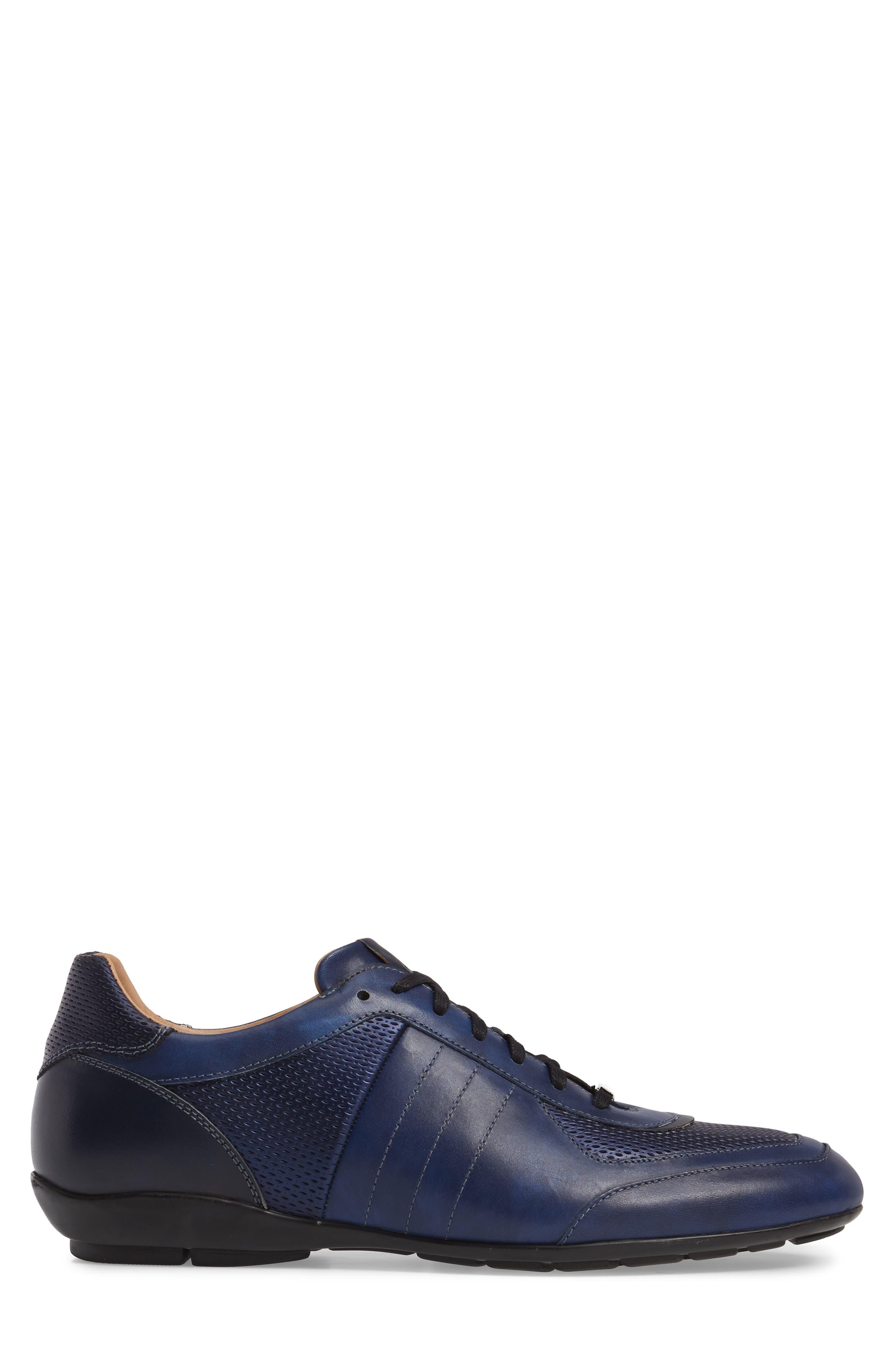 MEZLAN,                             Redon Embossed Sneaker,                             Alternate thumbnail 3, color,                             BLUE LEATHER