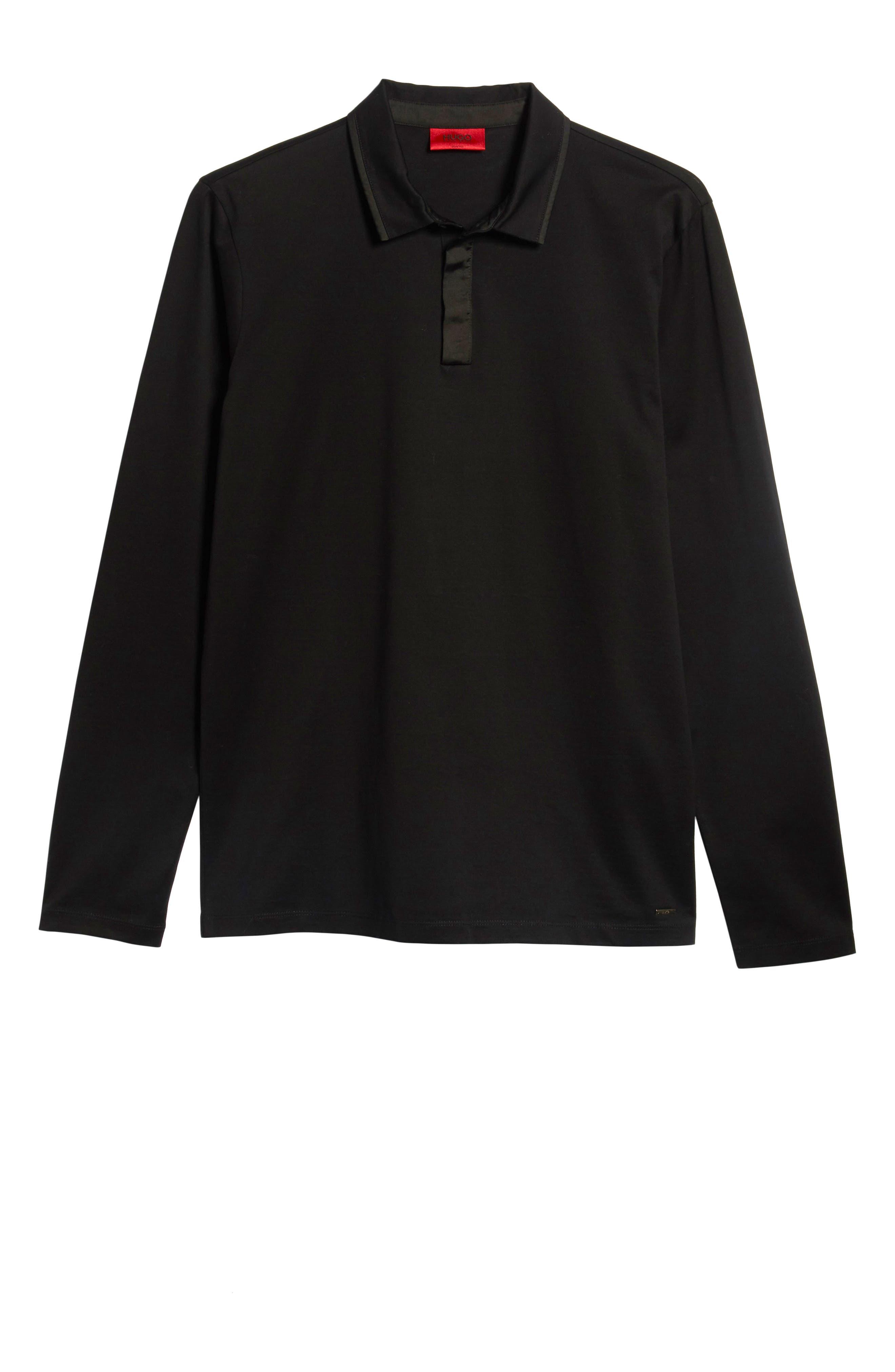 Dalendar Mercerized Cotton Slim Fit Polo Shirt,                             Alternate thumbnail 6, color,                             BLACK