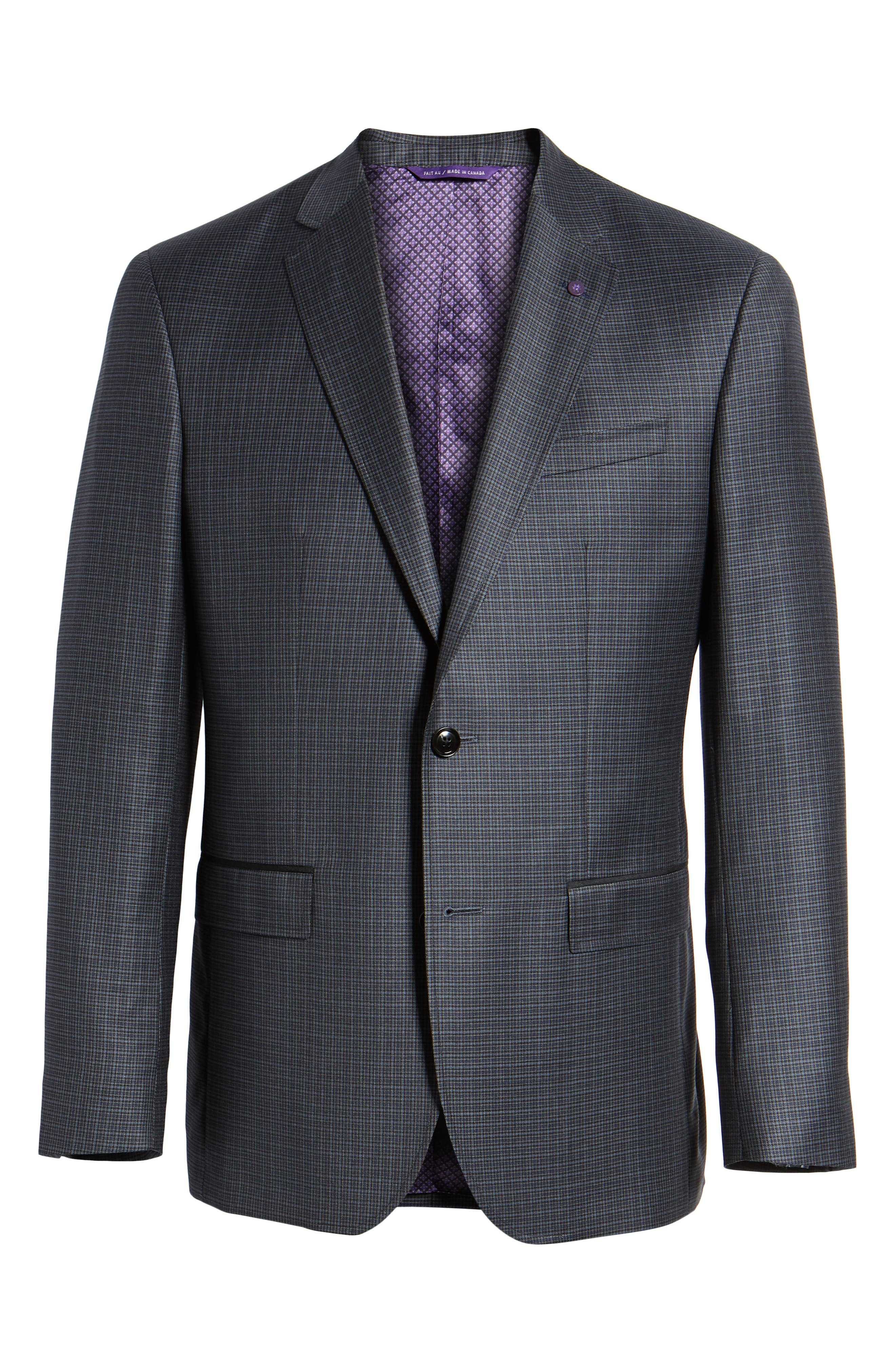 TED BAKER LONDON,                             Jed Trim Fit Microcheck Wool Sport Coat,                             Alternate thumbnail 5, color,                             020