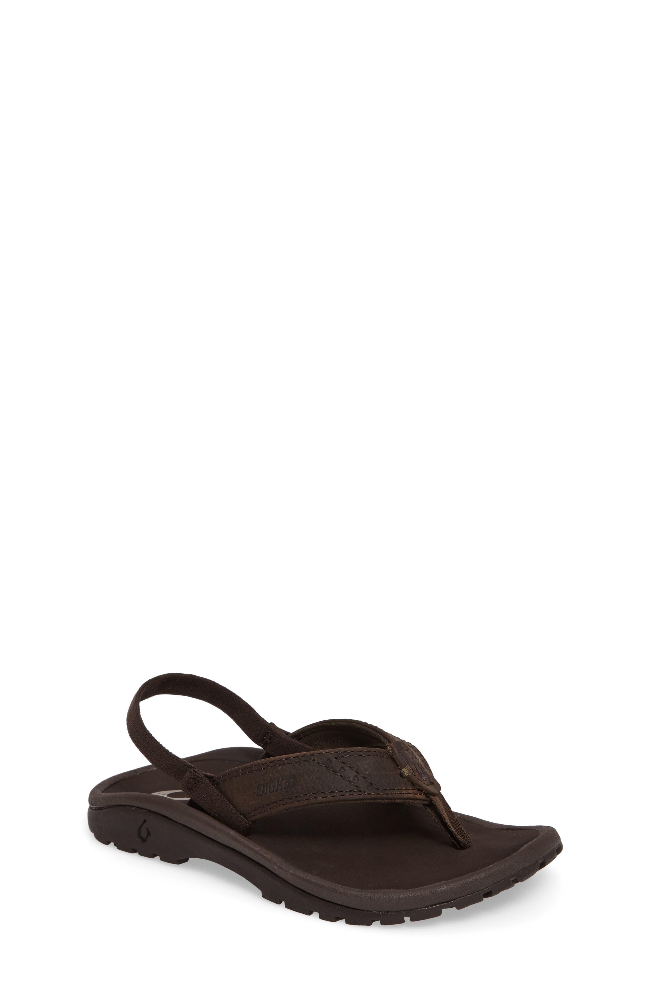OLUKAI,                             Nui Leather Sandal,                             Main thumbnail 1, color,                             SEAL BROWN/ DARK JAVA