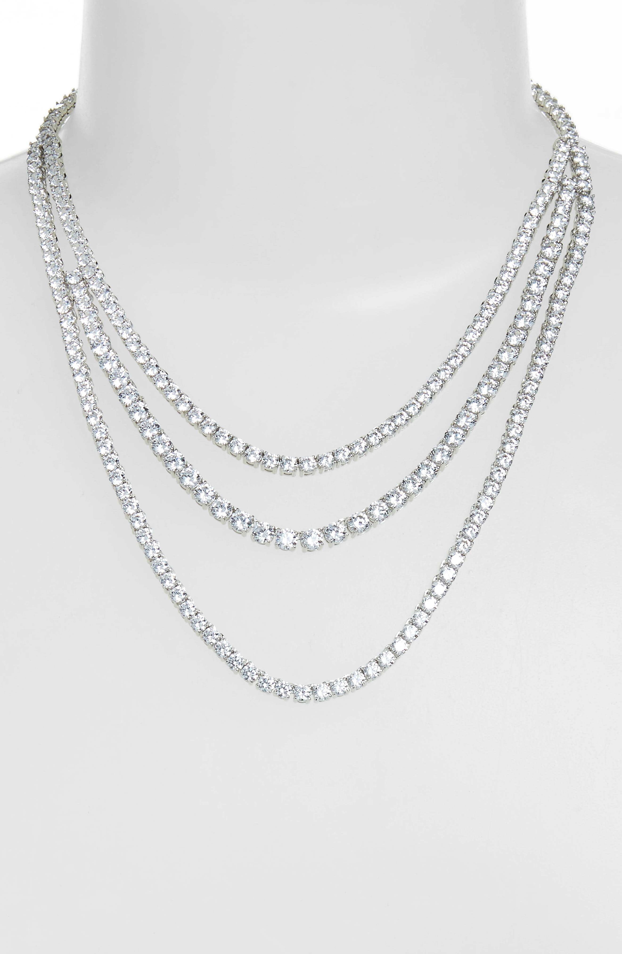Triple Strand Tennis Necklace,                             Alternate thumbnail 2, color,                             CLEAR- SILVER