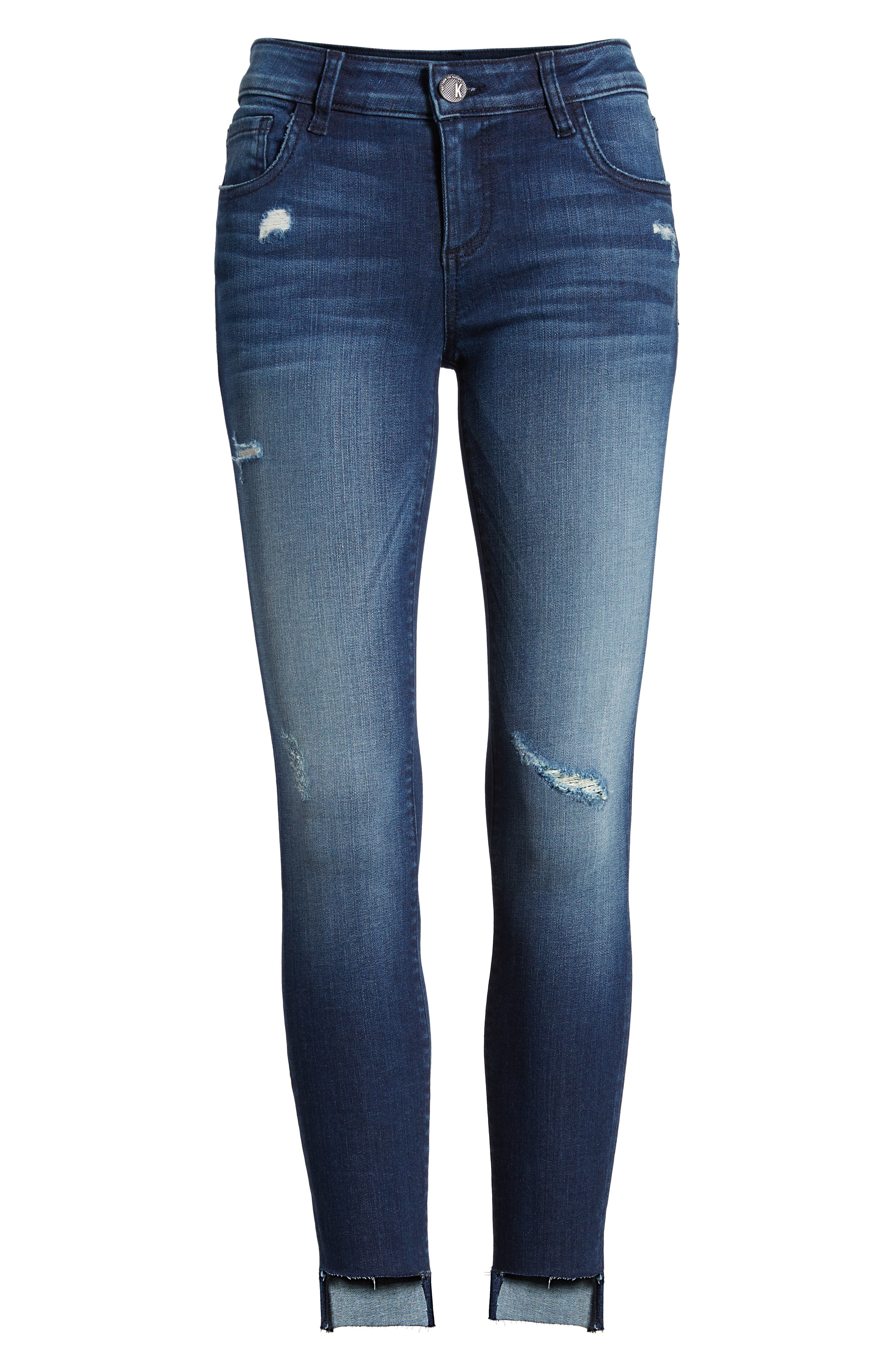 Connie Step Hem Skinny Jeans,                             Alternate thumbnail 6, color,                             CLEAN