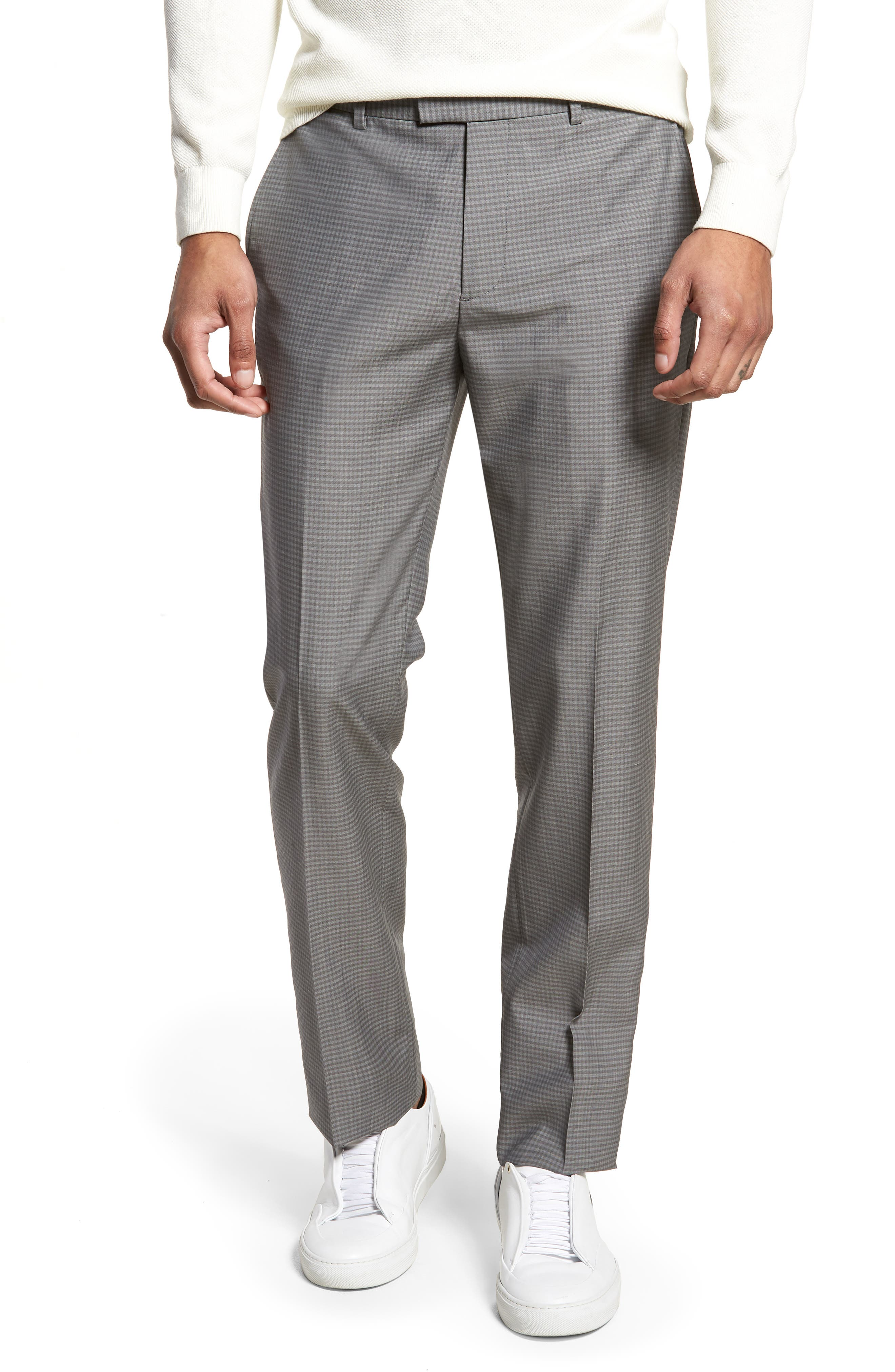 Marlo Flat Front Check Wool Trousers,                         Main,                         color, 023