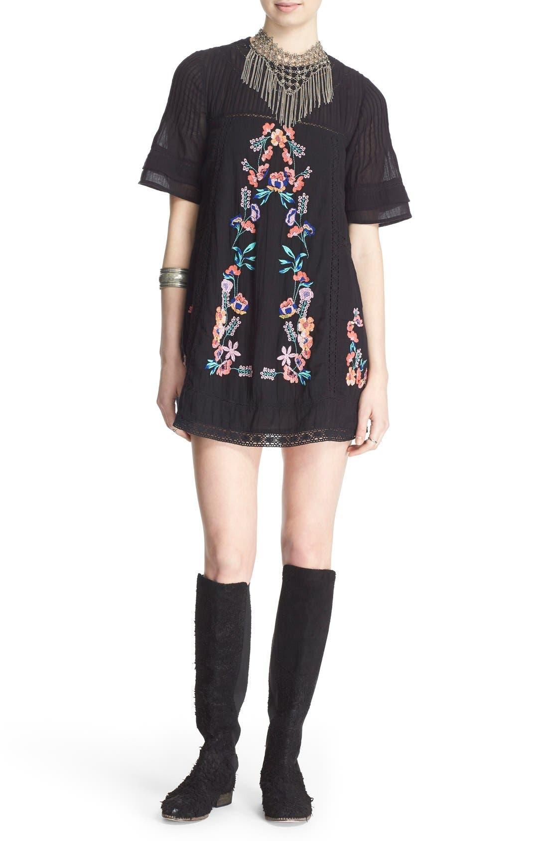 'Perfectly Victorian' Minidress,                             Main thumbnail 1, color,                             BLACK