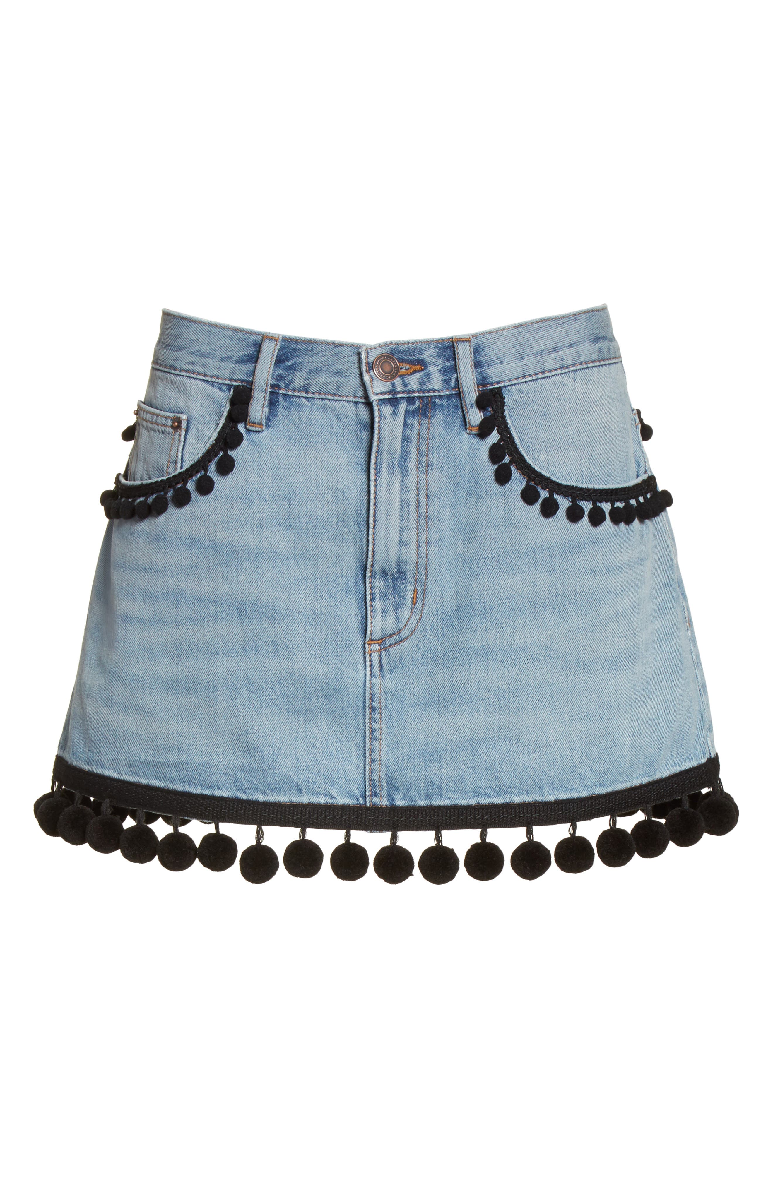Pompom Trim Denim Miniskirt,                             Alternate thumbnail 6, color,                             489