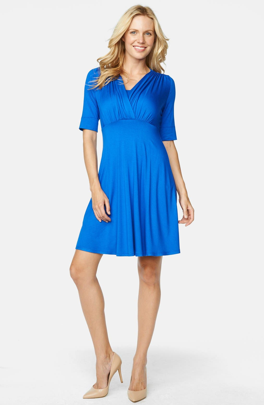 'Tummy Tuck' Maternity/Nursing Three Quarter Sleeve Dress,                         Main,                         color, 420