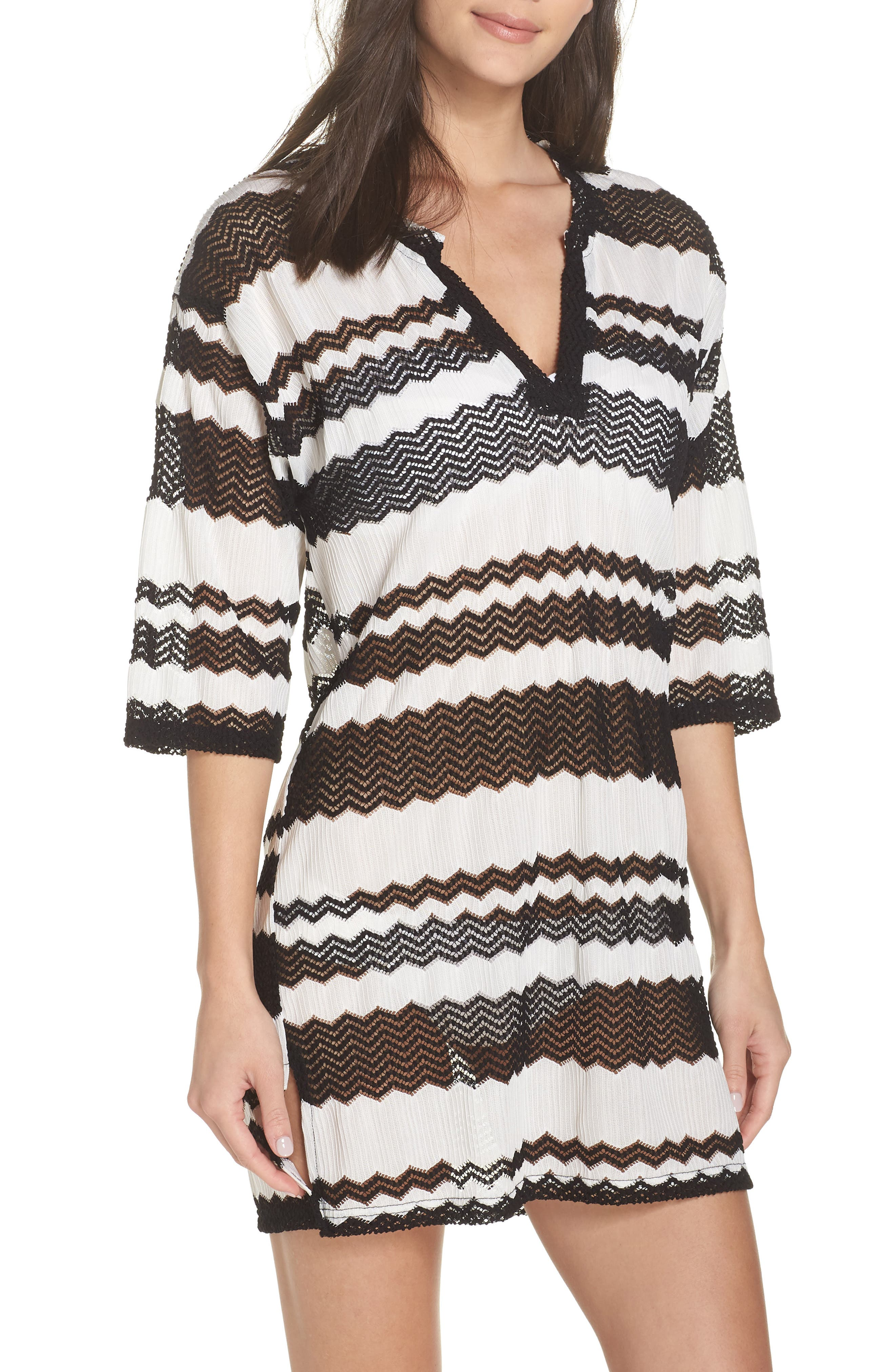 V-Neck Cover-Up Tunic,                         Main,                         color, BLACK AND WHITE