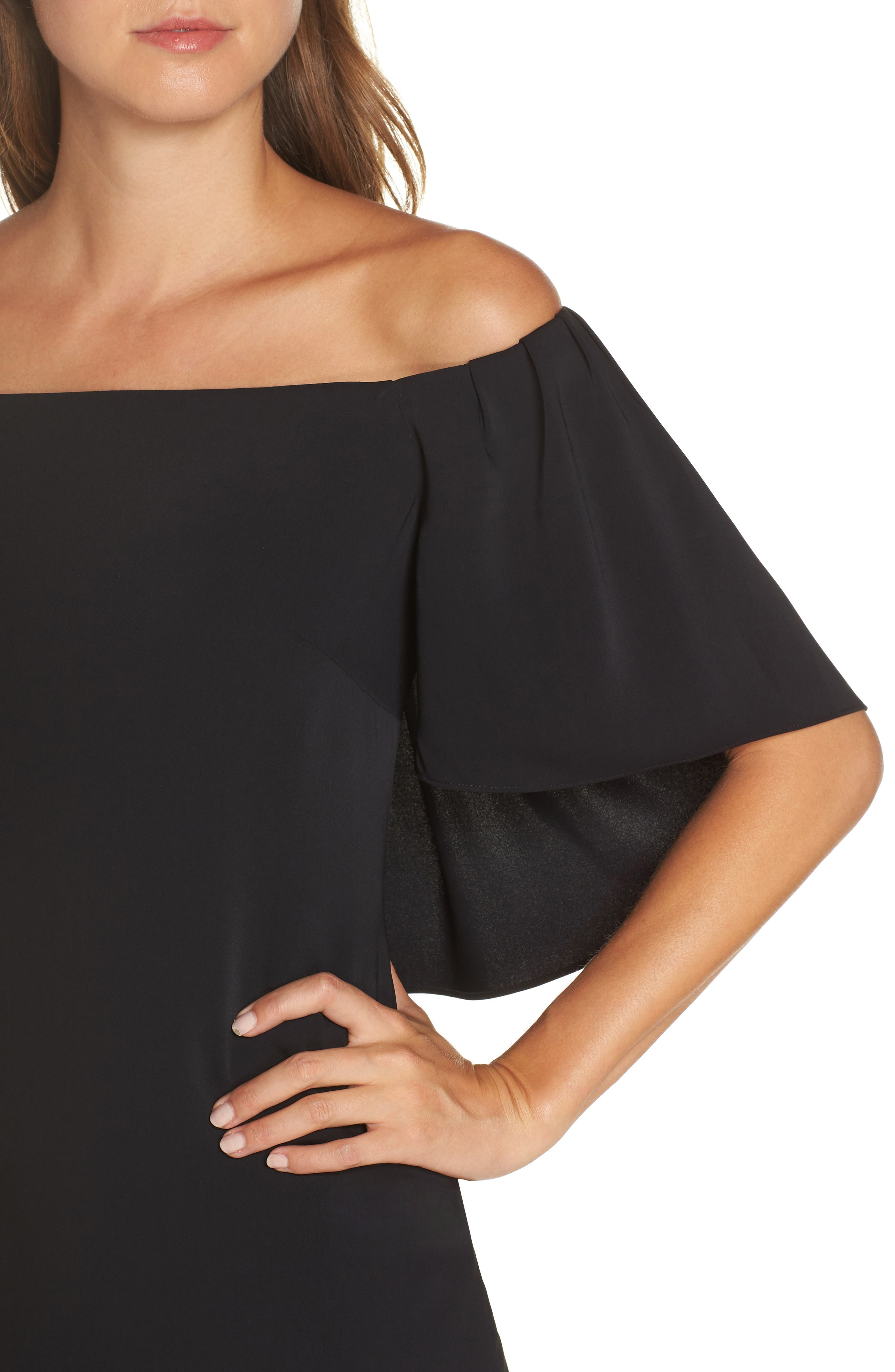 TRINA TRINA TURK,                             Zeal Off the Shoulder Dress,                             Alternate thumbnail 4, color,                             001