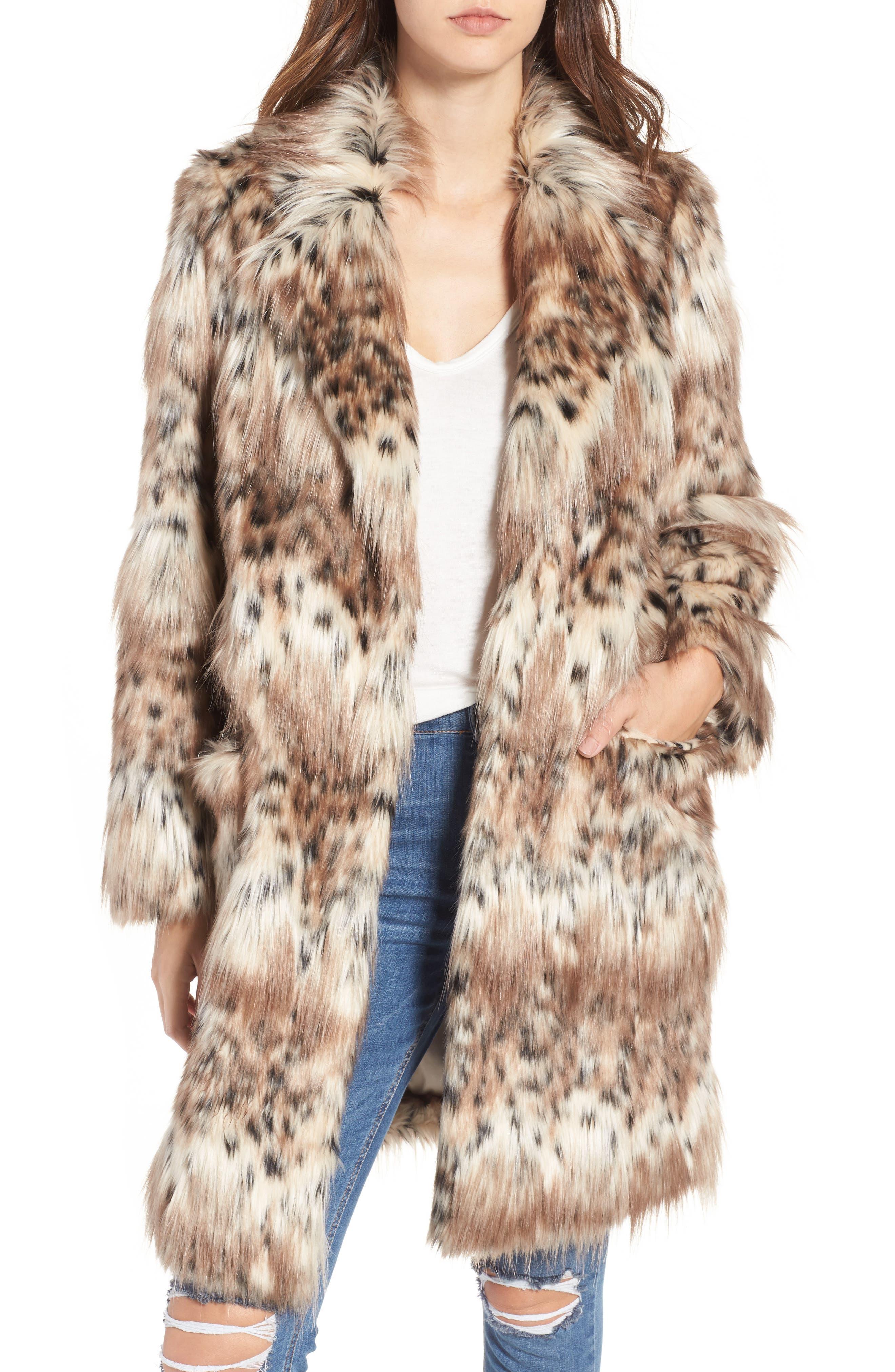 Stella Faux Fur Coat, Main, color, 250