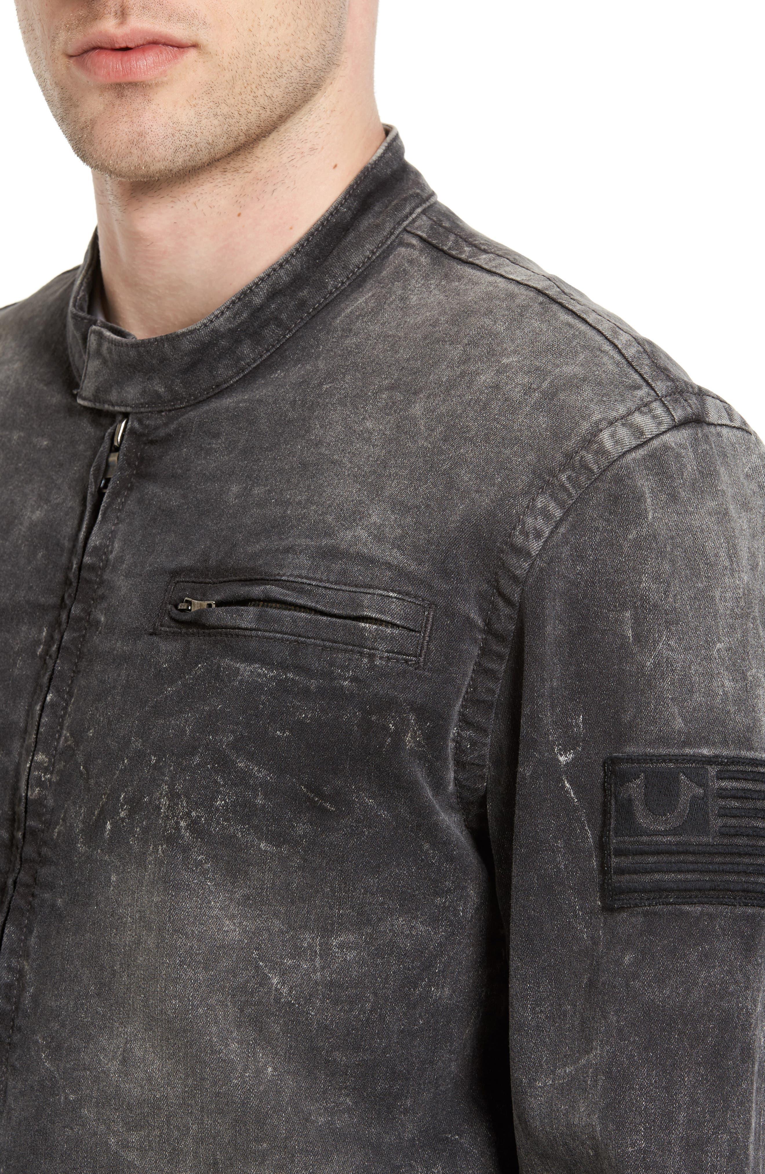 Denim Moto Jacket,                             Alternate thumbnail 4, color,                             001