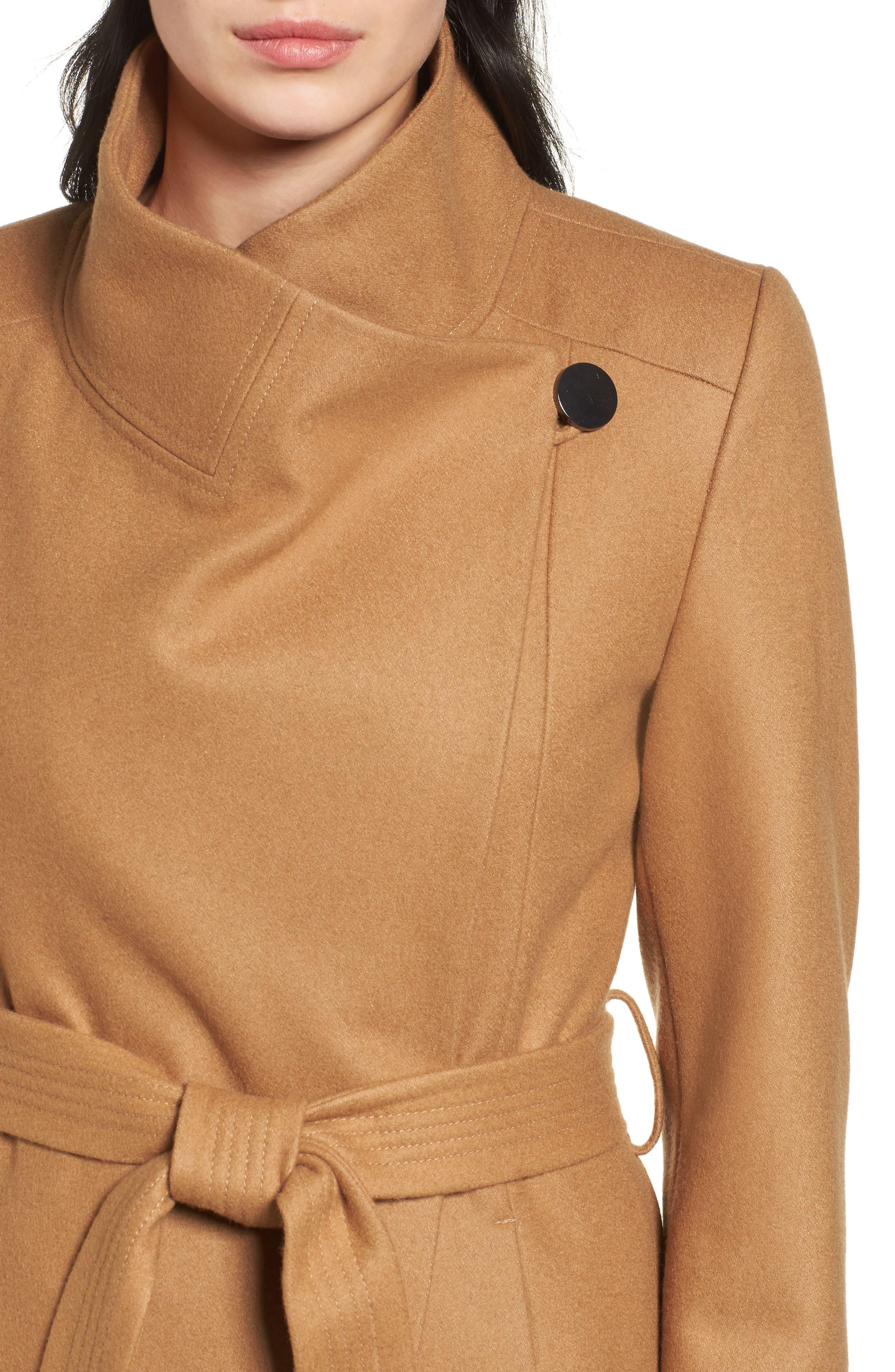 Wool Blend Maxi Wrap Coat,                             Alternate thumbnail 4, color,                             205