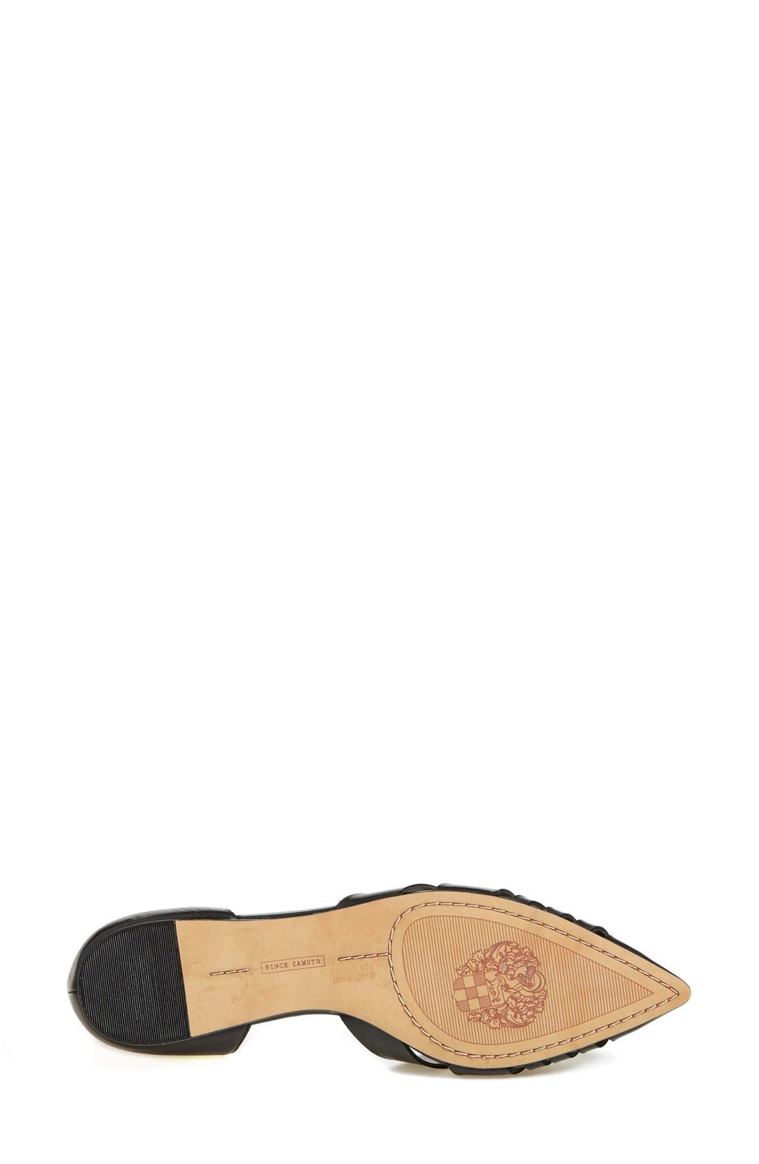'Hallie' Woven Leather d'Orsay Flat,                             Alternate thumbnail 4, color,                             001