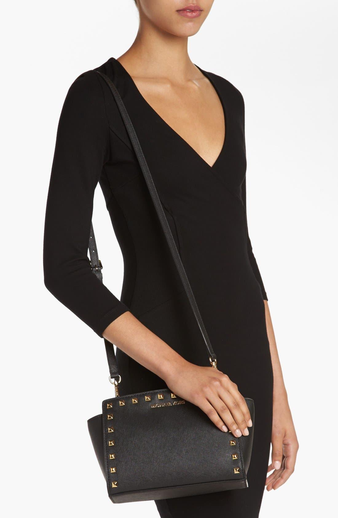 'Selma - Stud' Saffiano Leather Crossbody Bag,                             Alternate thumbnail 4, color,                             001