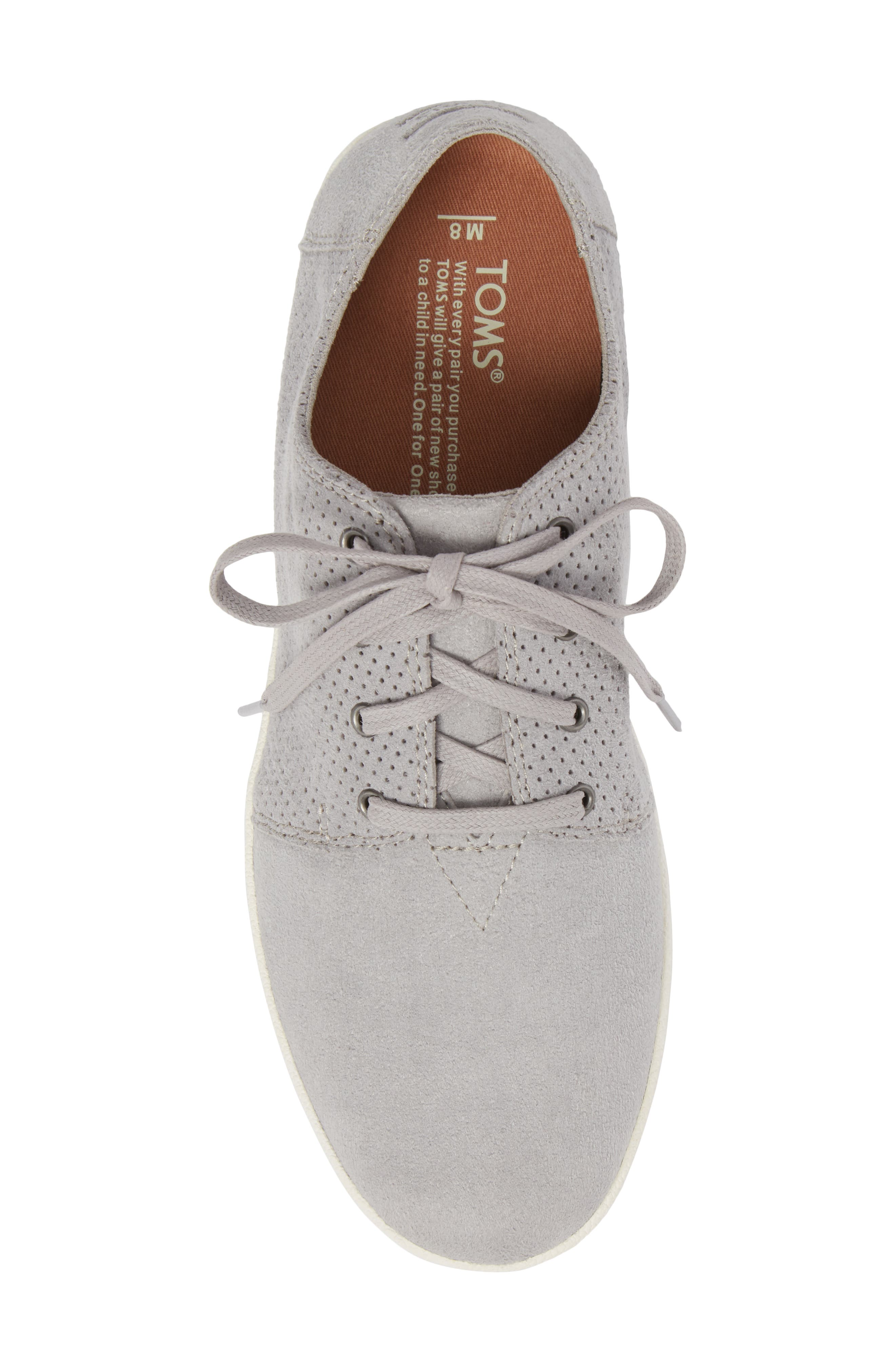Payton Perforated Sneaker,                             Alternate thumbnail 5, color,                             DRIZZLE GREY PERFORATED