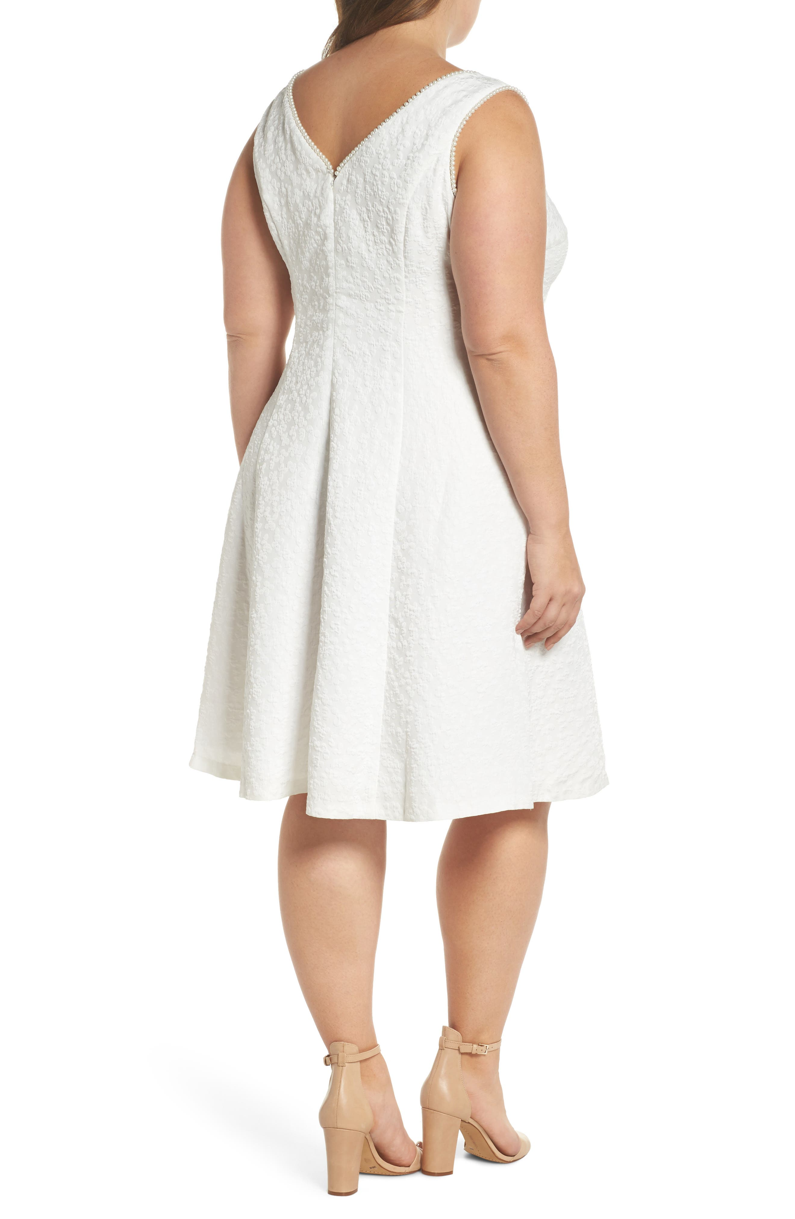 Textured Fit & Flare Dress,                             Alternate thumbnail 2, color,                             WHITE