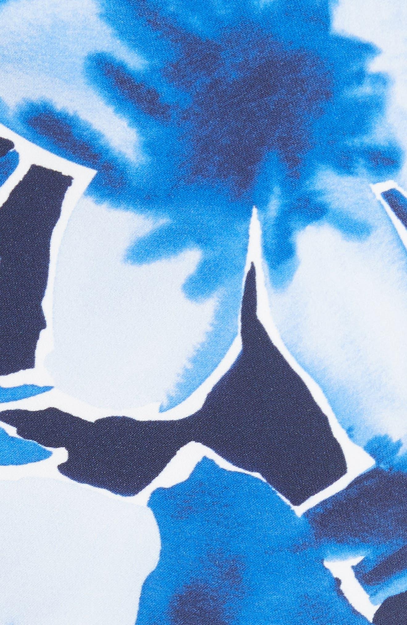 Draped Floral Print Sheath Dress,                             Alternate thumbnail 5, color,                             478