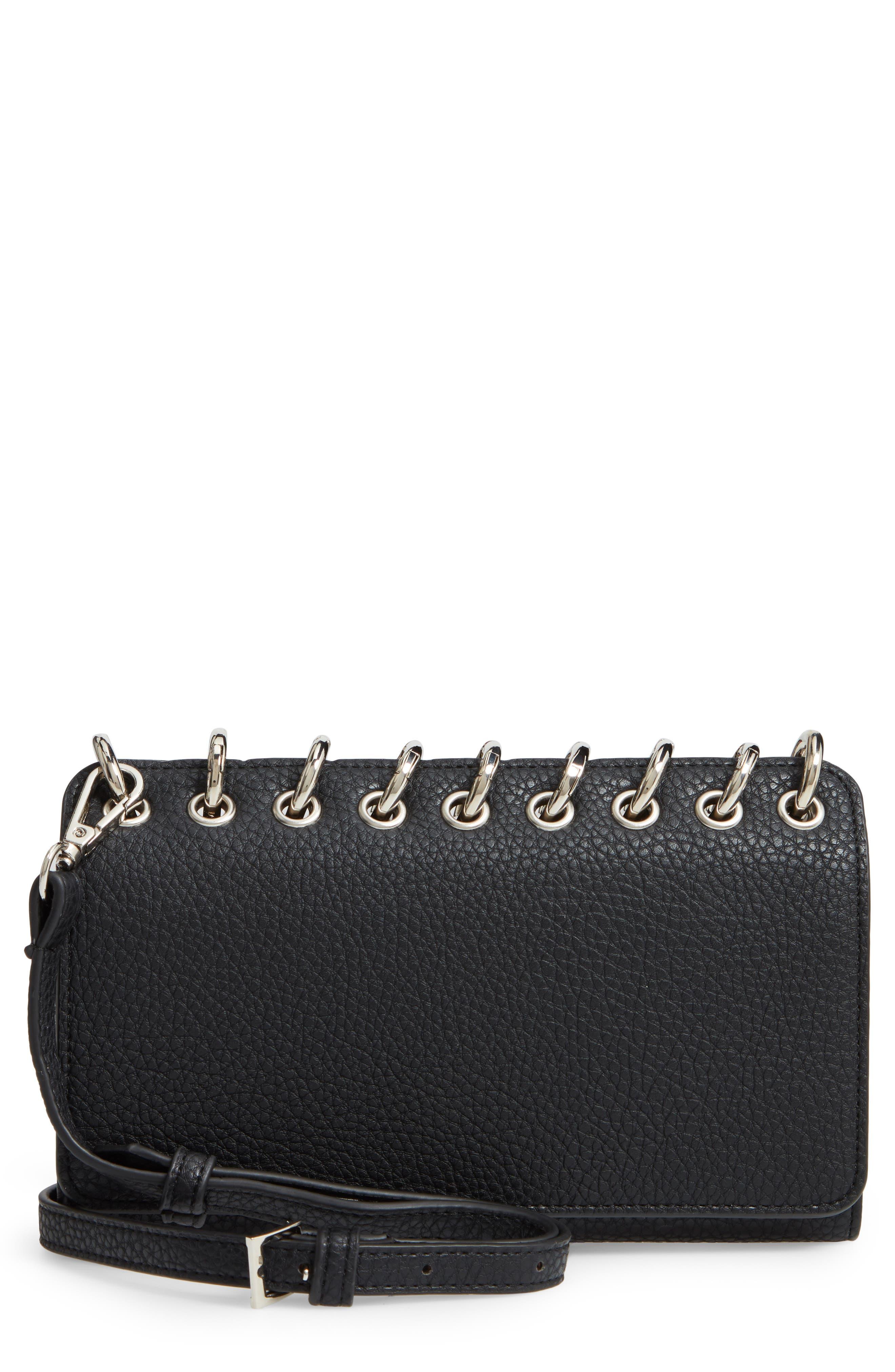 SONDRA ROBERTS Ring Faux Leather Crossbody Bag - Black