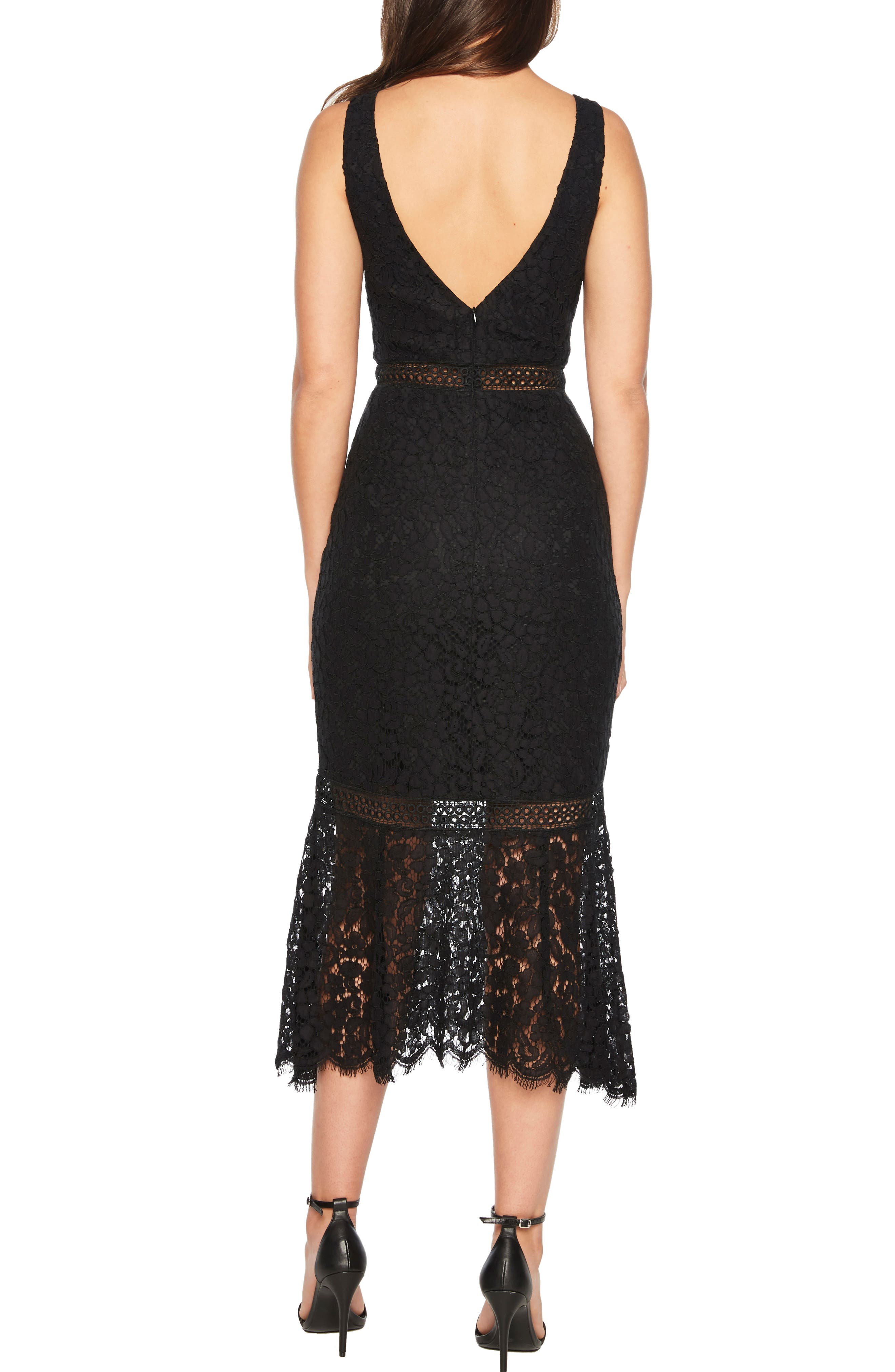 BARDOT,                             Sienna Lace Trumpet Dress,                             Alternate thumbnail 2, color,                             001