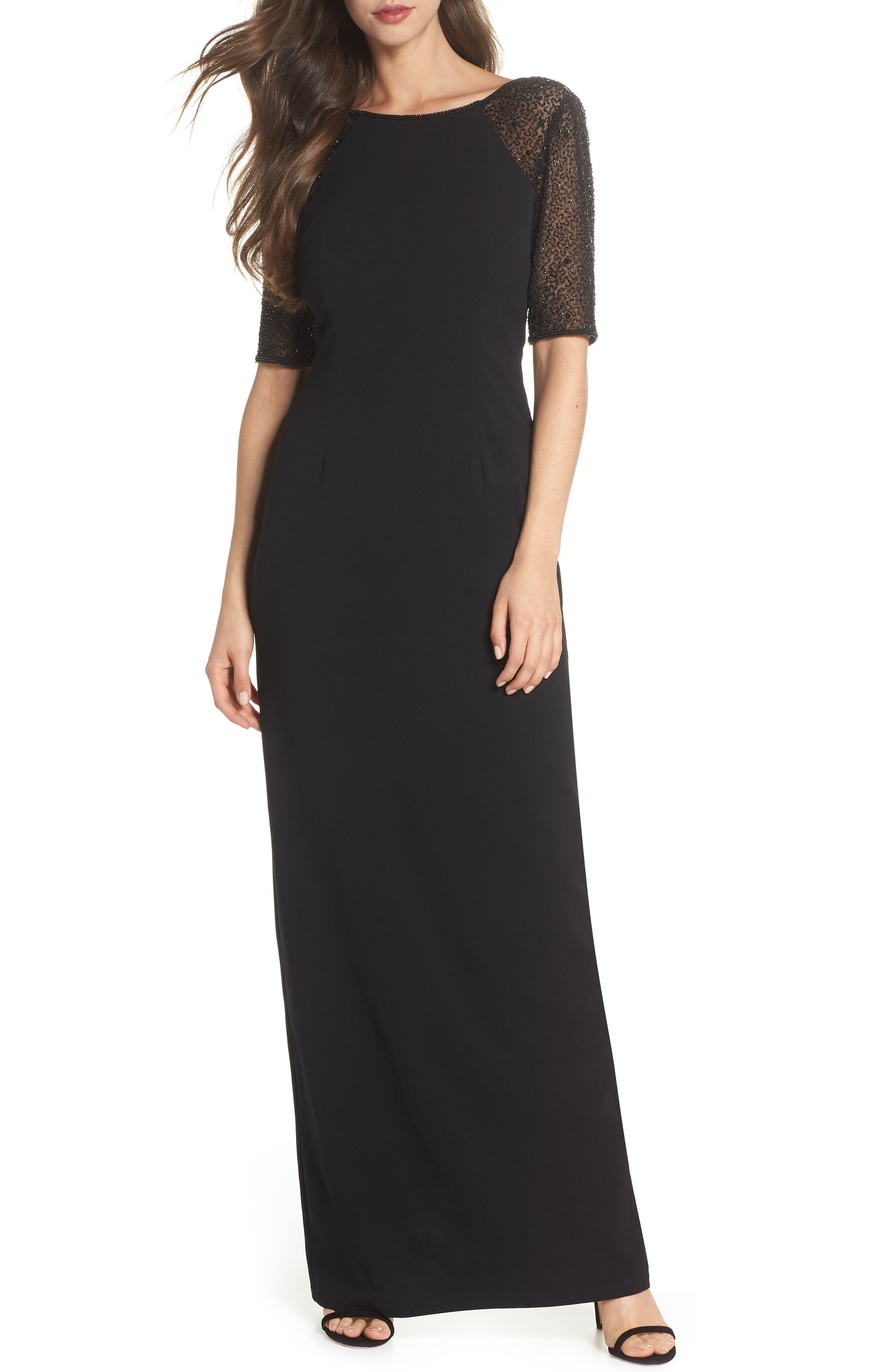 Beaded Gown,                             Alternate thumbnail 6, color,                             BLACK MULTI