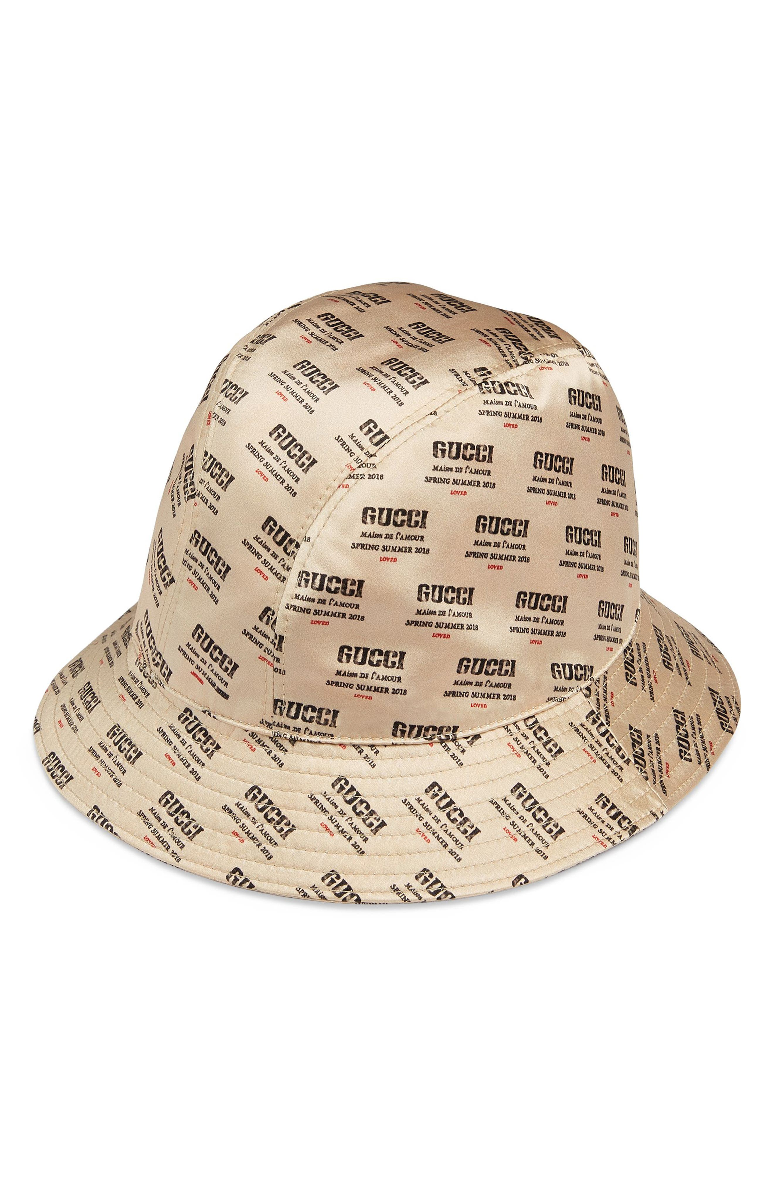 Stamp Logo Bucket Hat,                             Main thumbnail 1, color,                             BEIGE