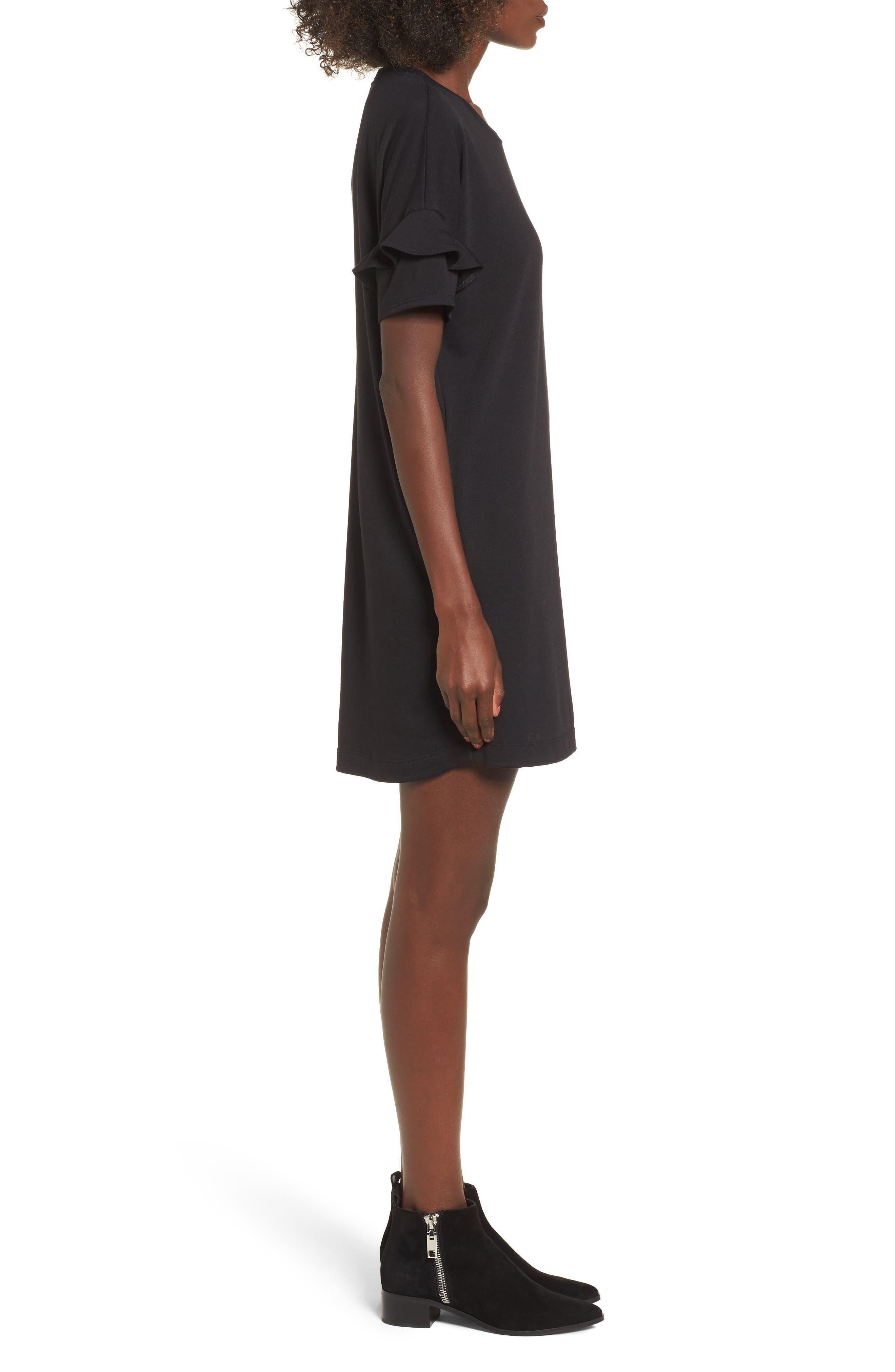 Ruffle Sleeve T-Shirt Dress,                             Alternate thumbnail 3, color,                             BLACK