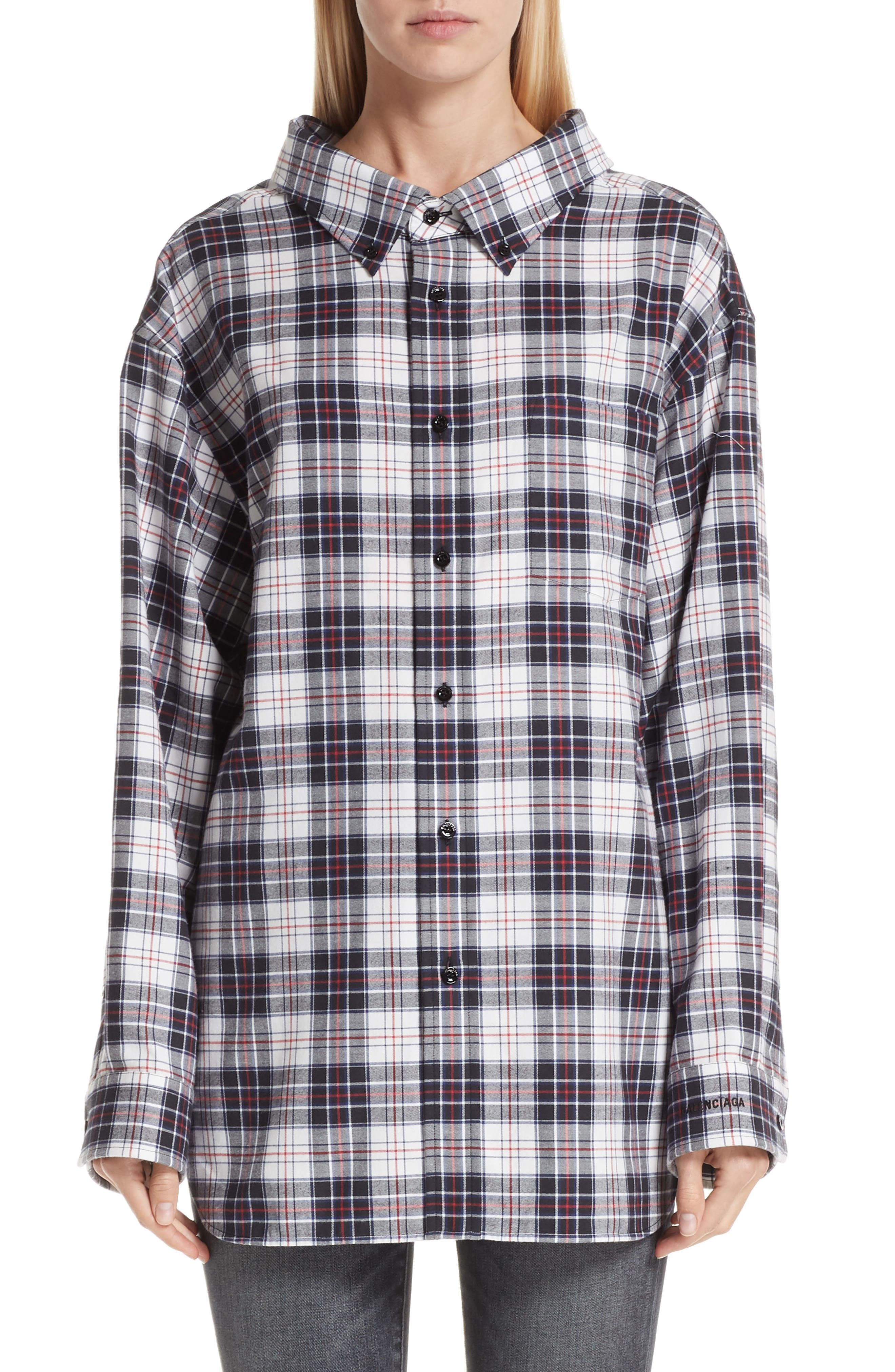 Swing Plaid Flannel Shirt, Main, color, 120