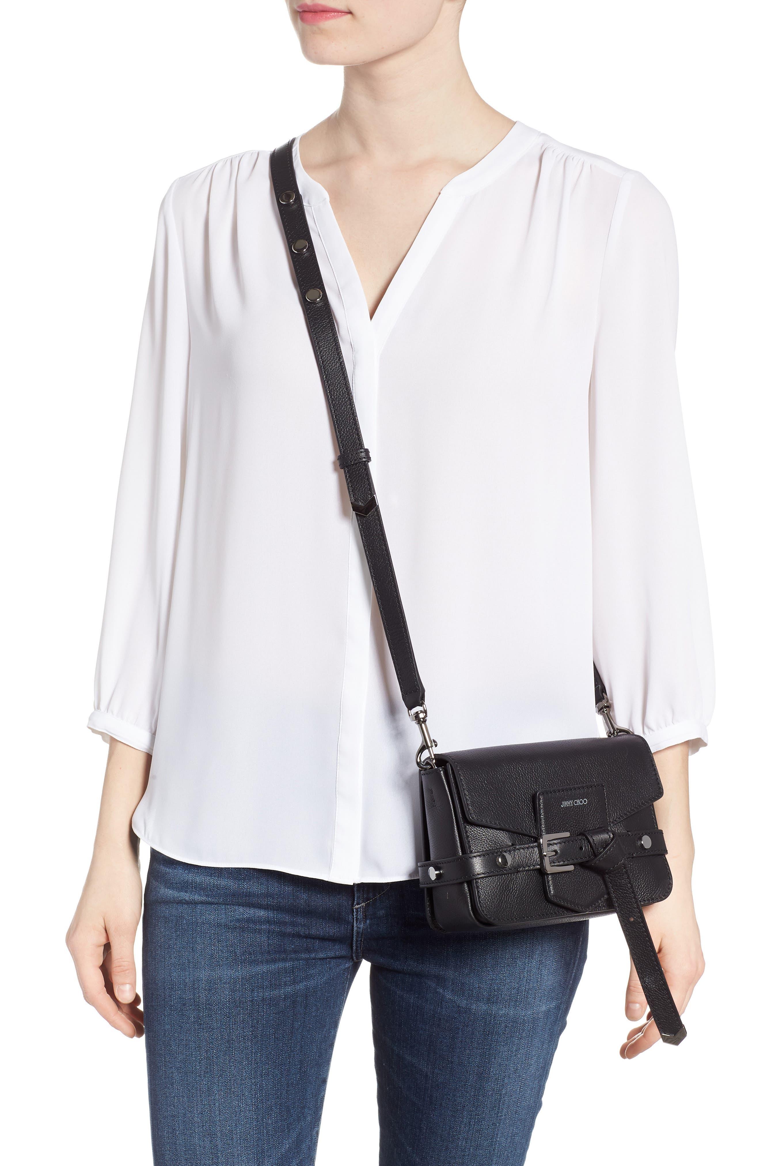 Lexi Grained Leather Crossbody Bag,                             Alternate thumbnail 2, color,                             BLACK
