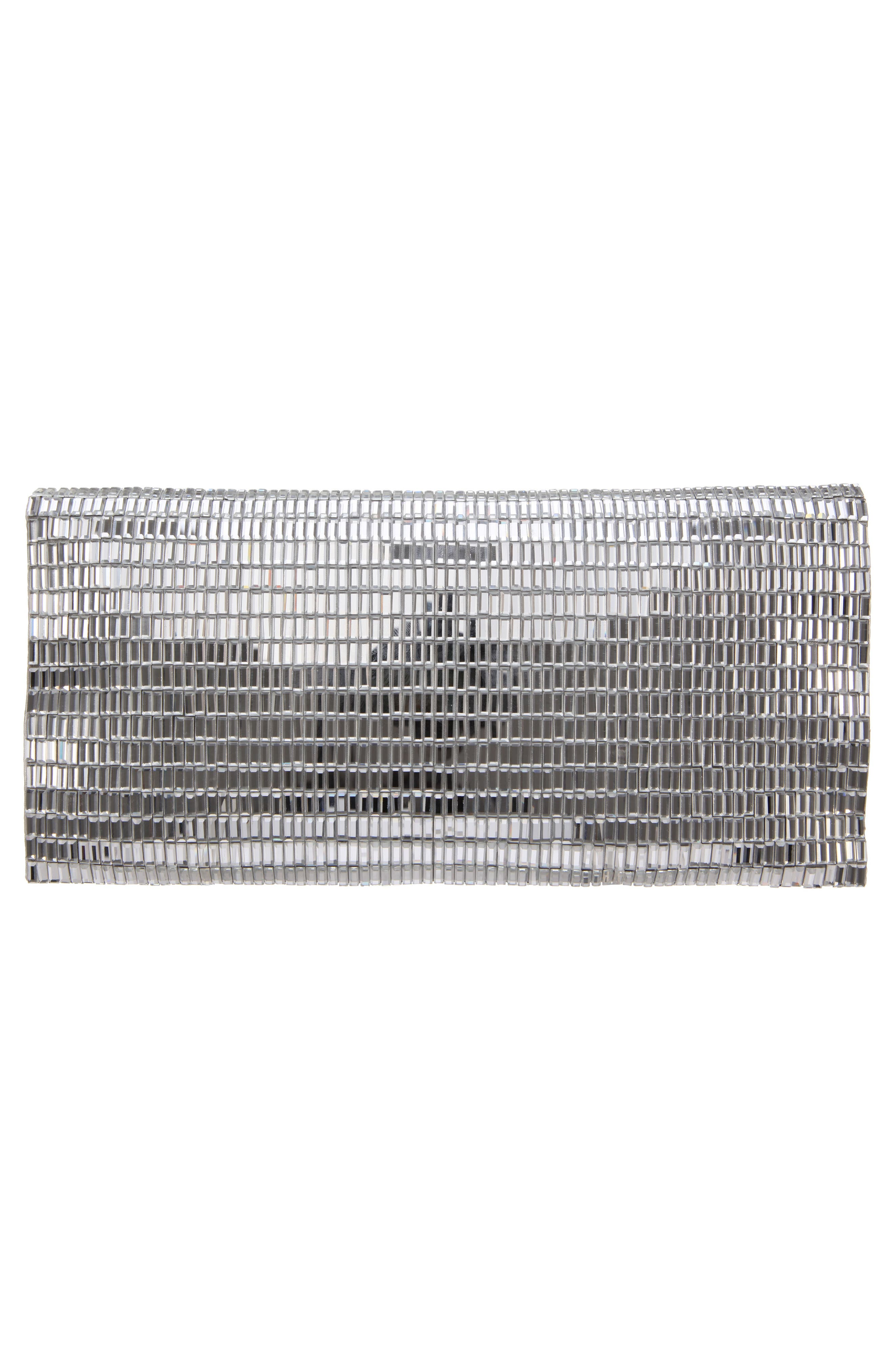 Crystal Foldover Clutch,                             Alternate thumbnail 2, color,                             SILVER