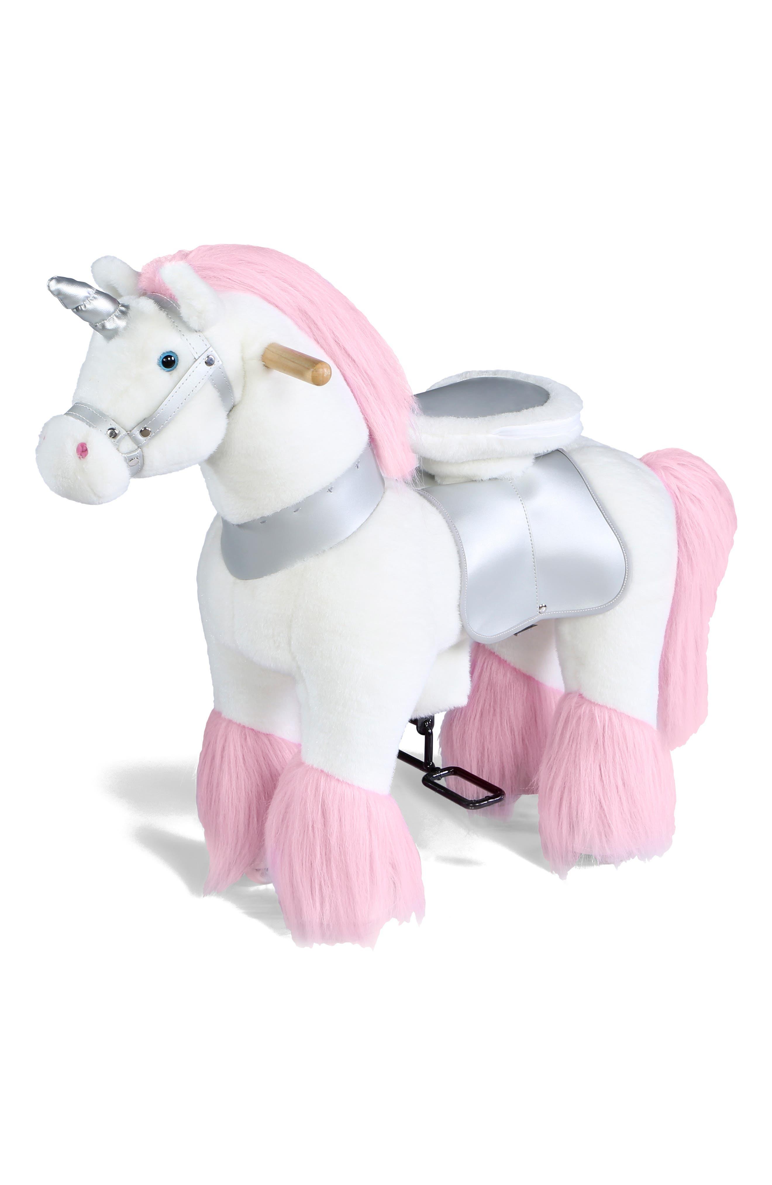 Plush Ride-On Unicorn Toy,                         Main,                         color, 100