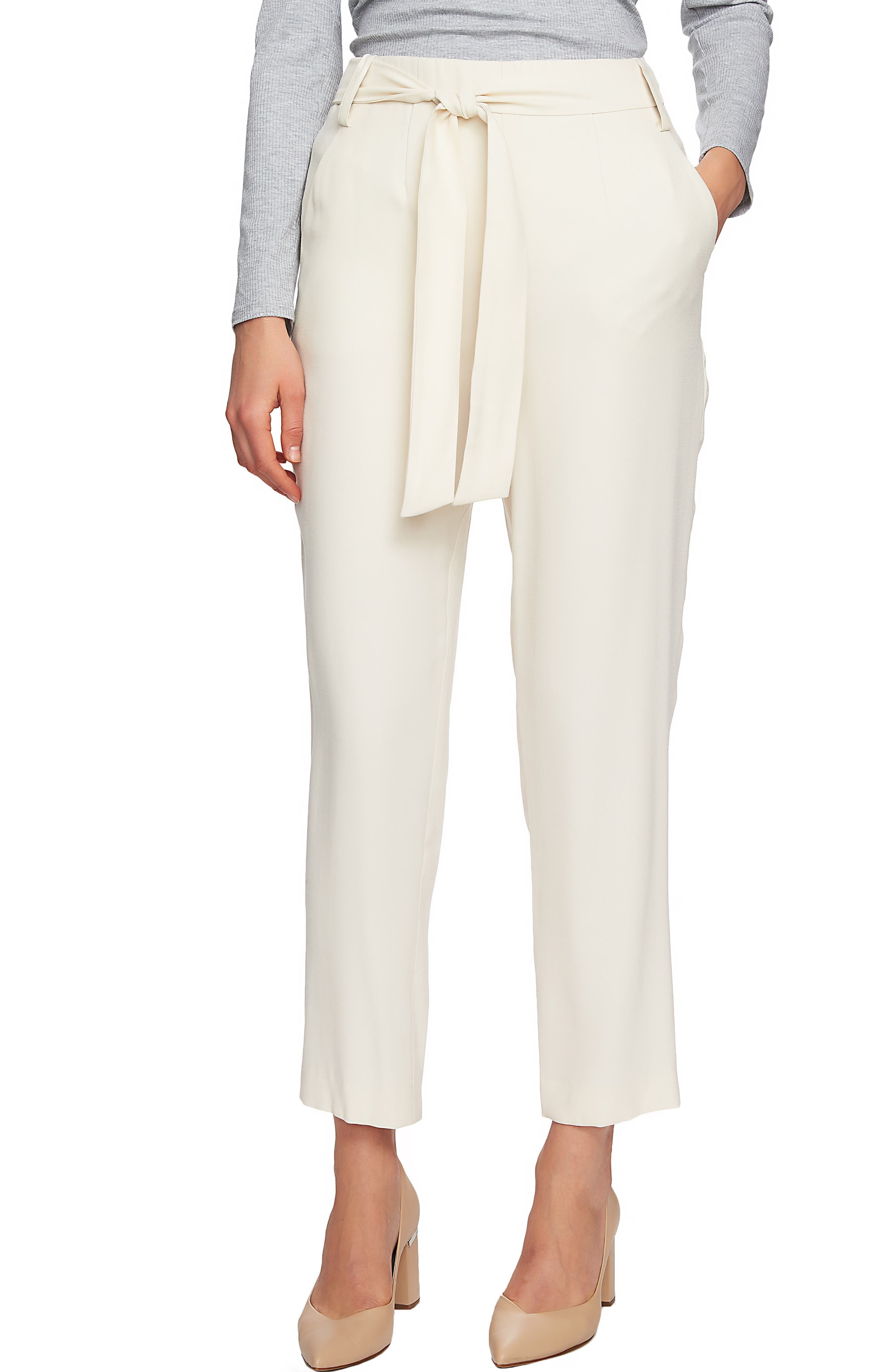 1.STATE Flat Front Tie Waist Slim Pants, Main, color, 116