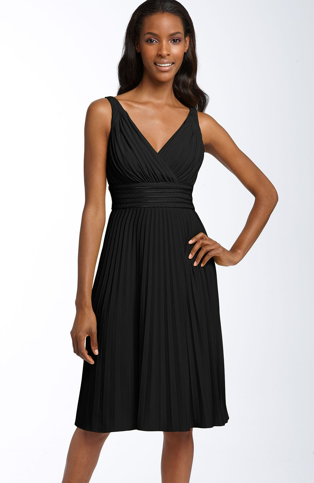 Pleated Jersey Dress,                             Main thumbnail 1, color,                             001