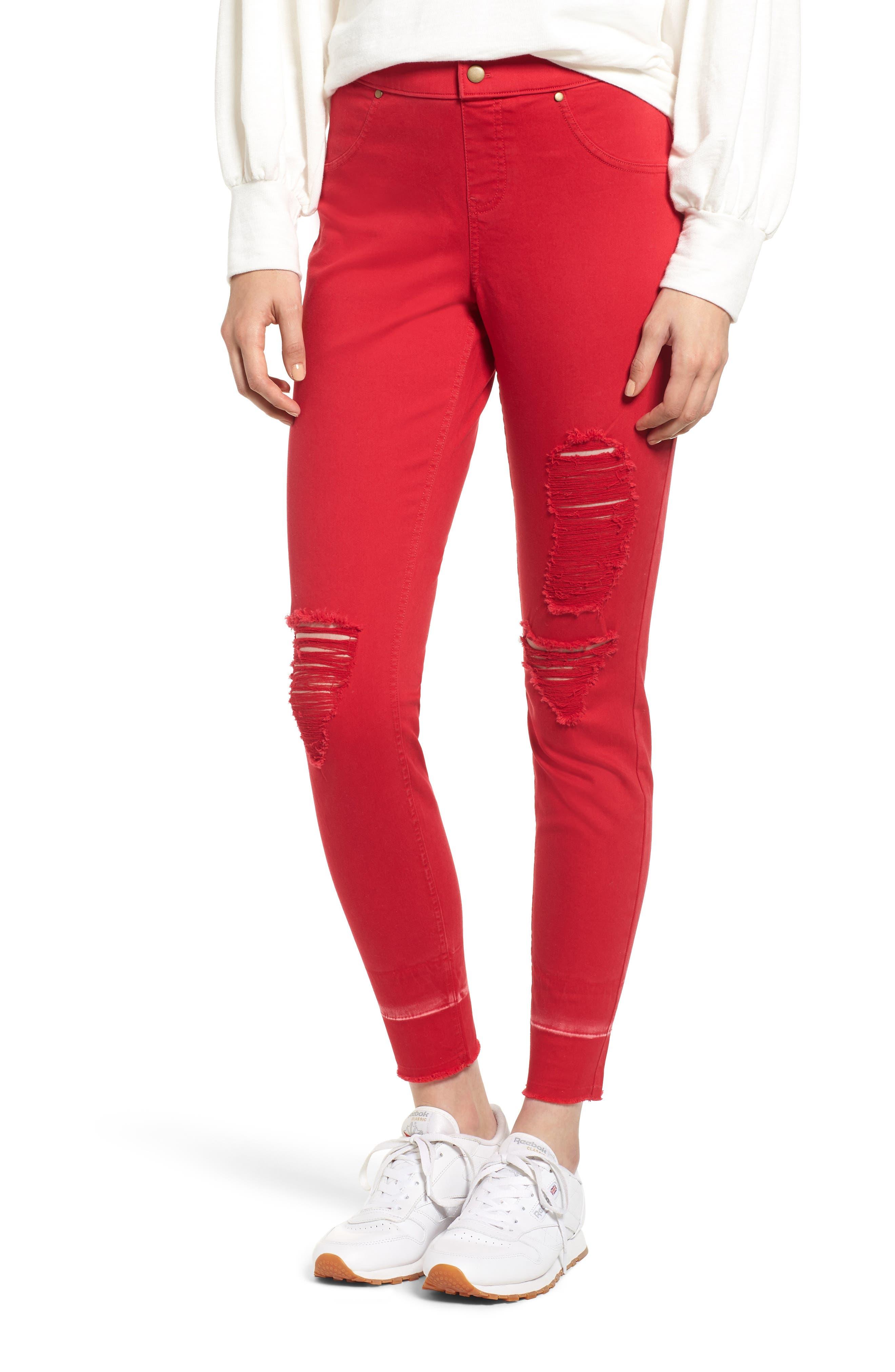 Zeza B By Hue Shredded Denim Leggings, Red
