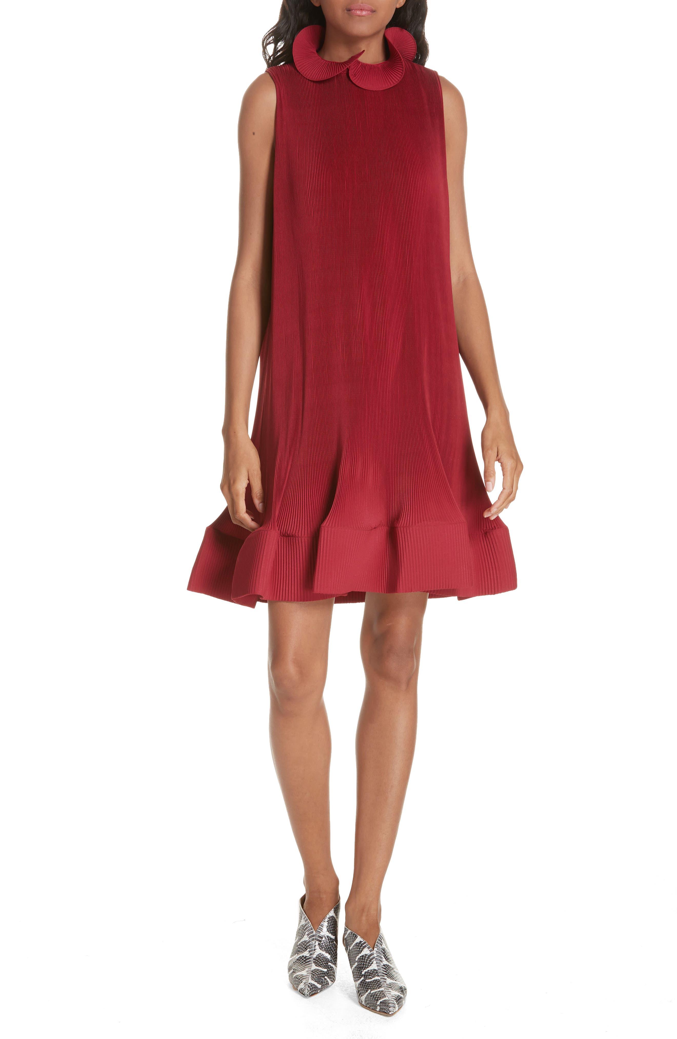 Tibi Pleating Sculptured Sleeveless Dress, Red