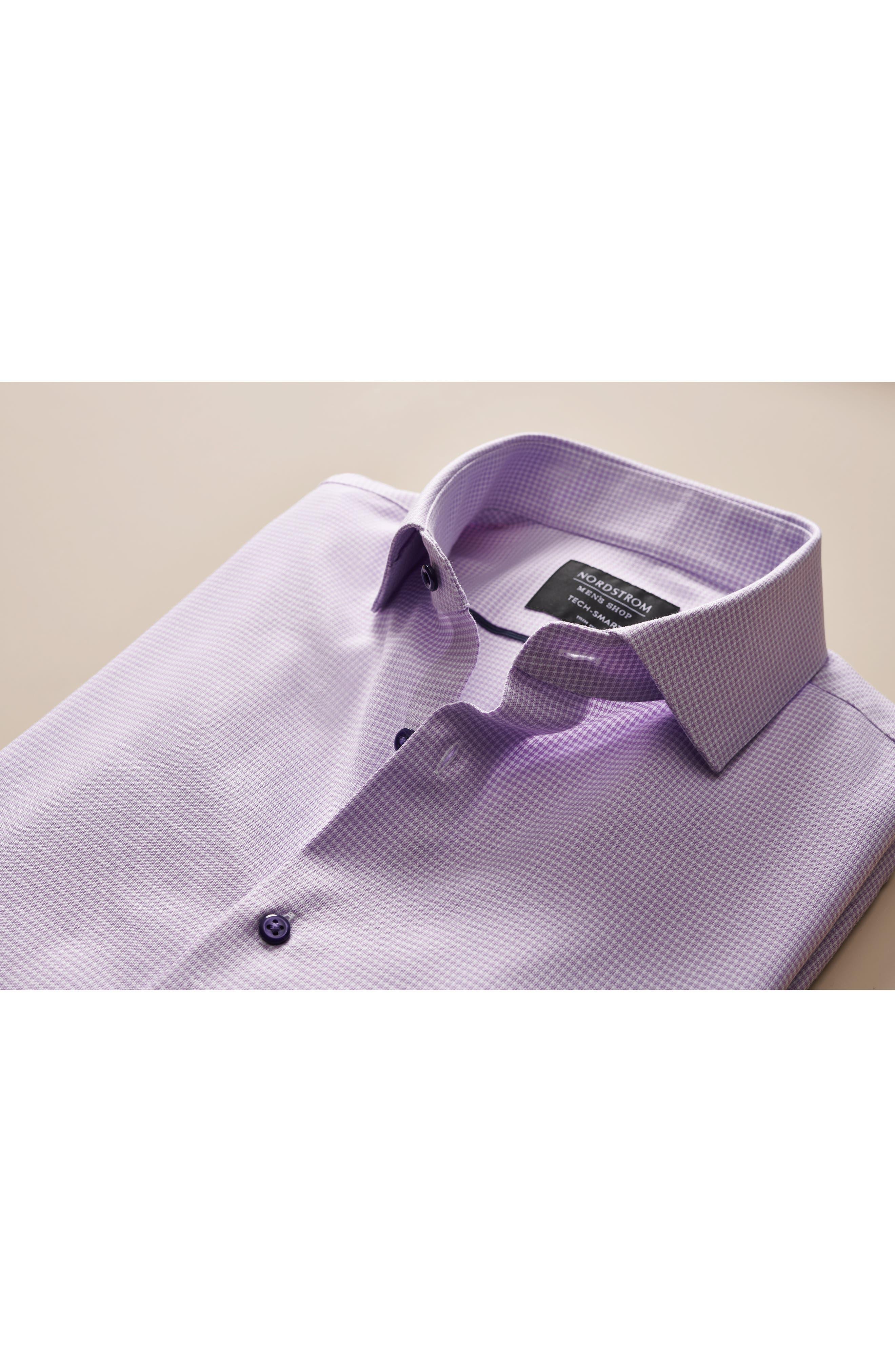 Tech-Smart Trim Fit Stretch Texture Dress Shirt,                             Alternate thumbnail 9, color,                             WHITE