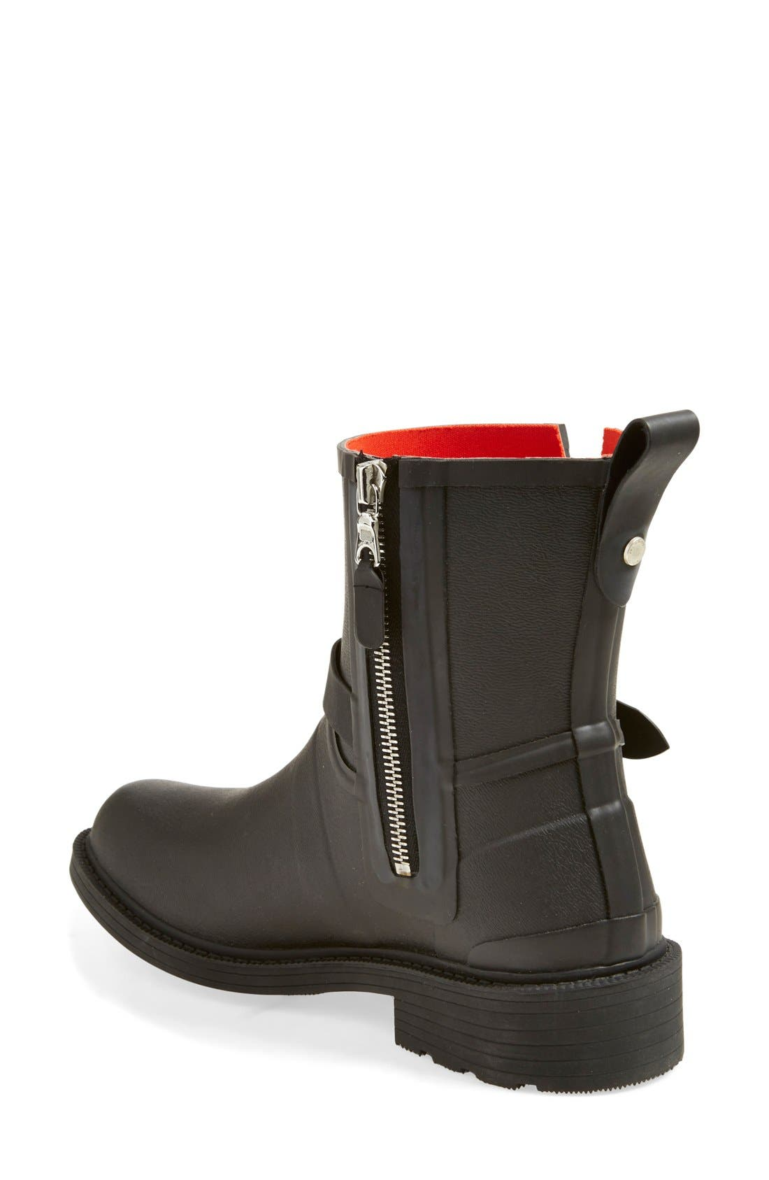 Moto Rain Boot,                             Alternate thumbnail 2, color,                             BLACK RUBBER