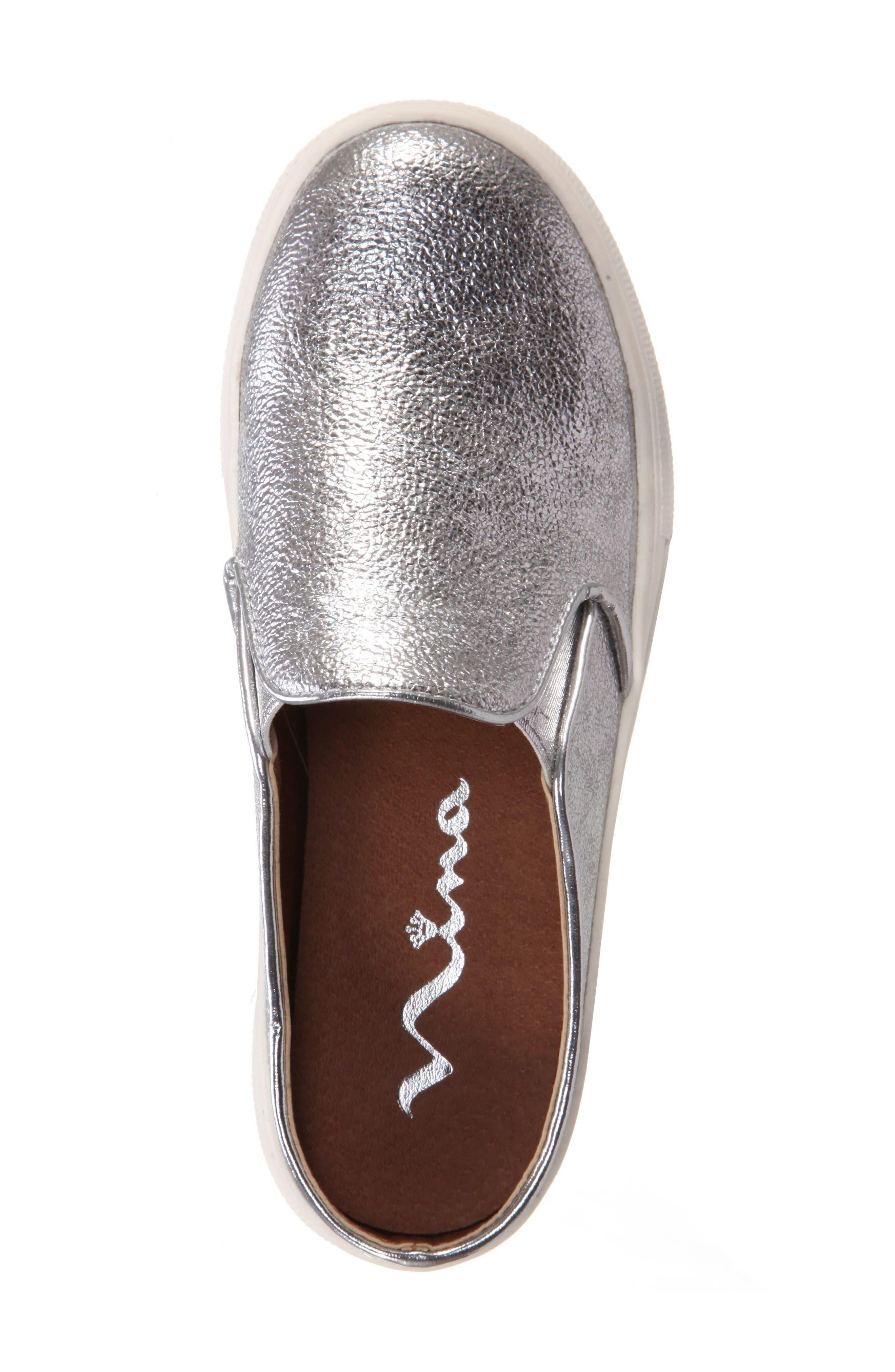 Gail Metallic Slip-On Sneaker Mule,                             Alternate thumbnail 5, color,                             044