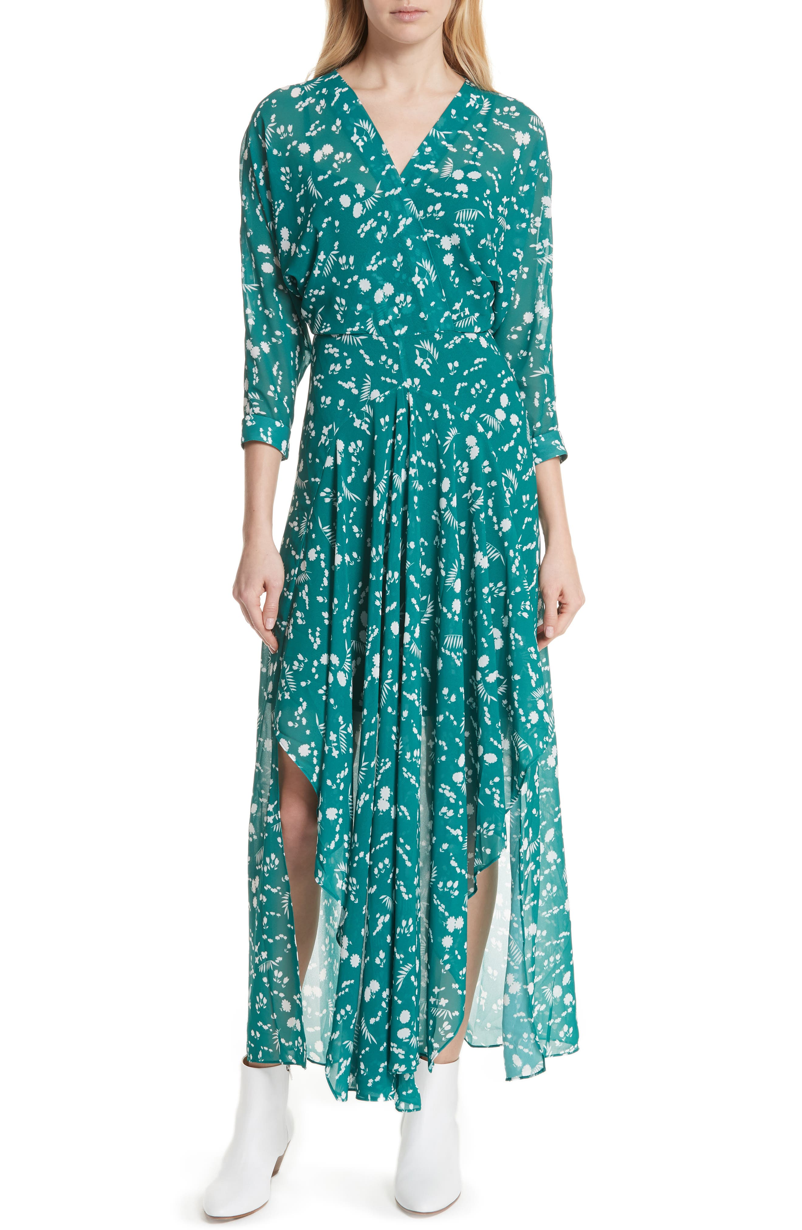 Floral Print Maxi Dress,                             Alternate thumbnail 5, color,