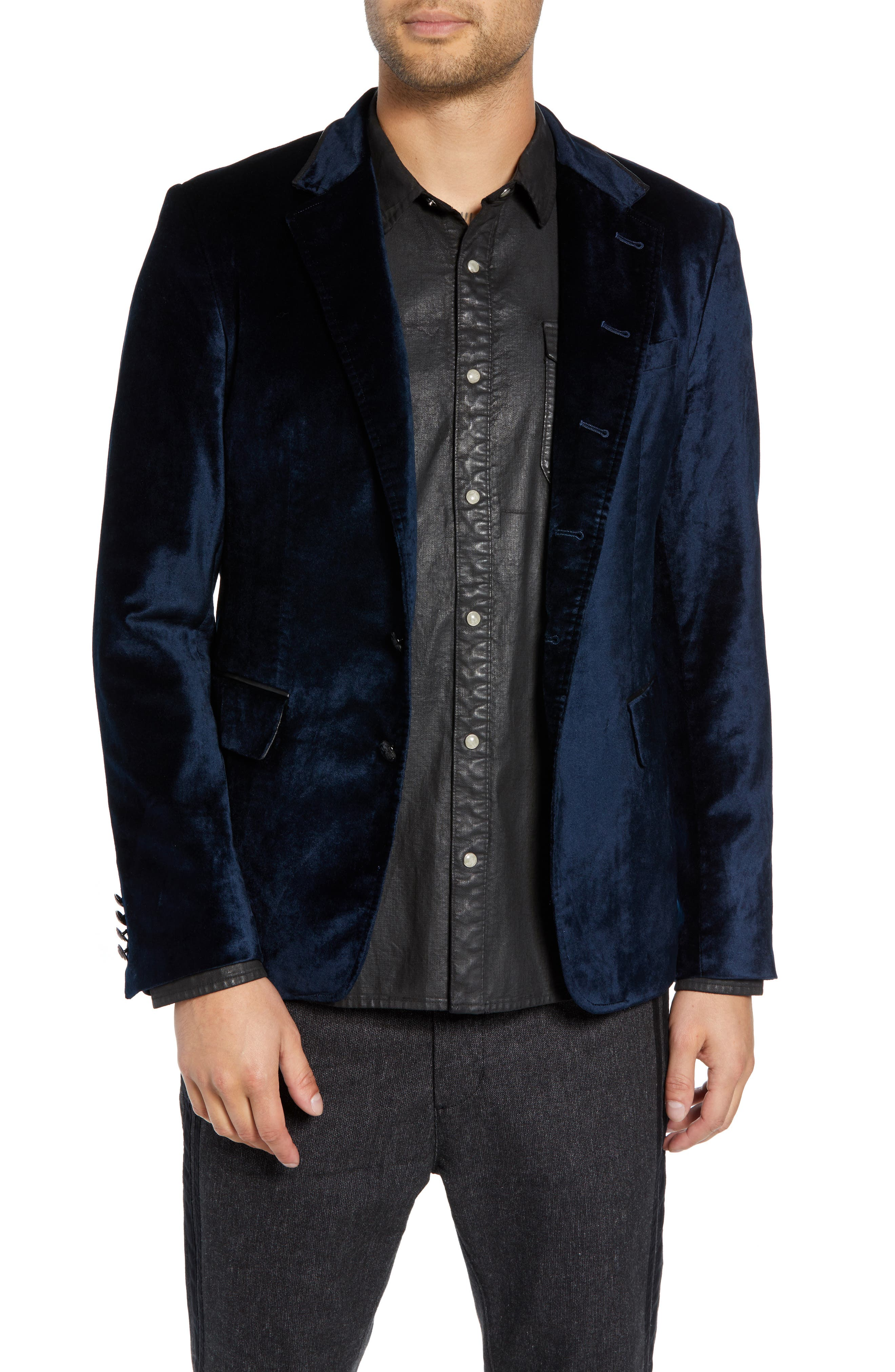 Velvet Jacket with Leather Trim,                         Main,                         color, SAPPHIRE