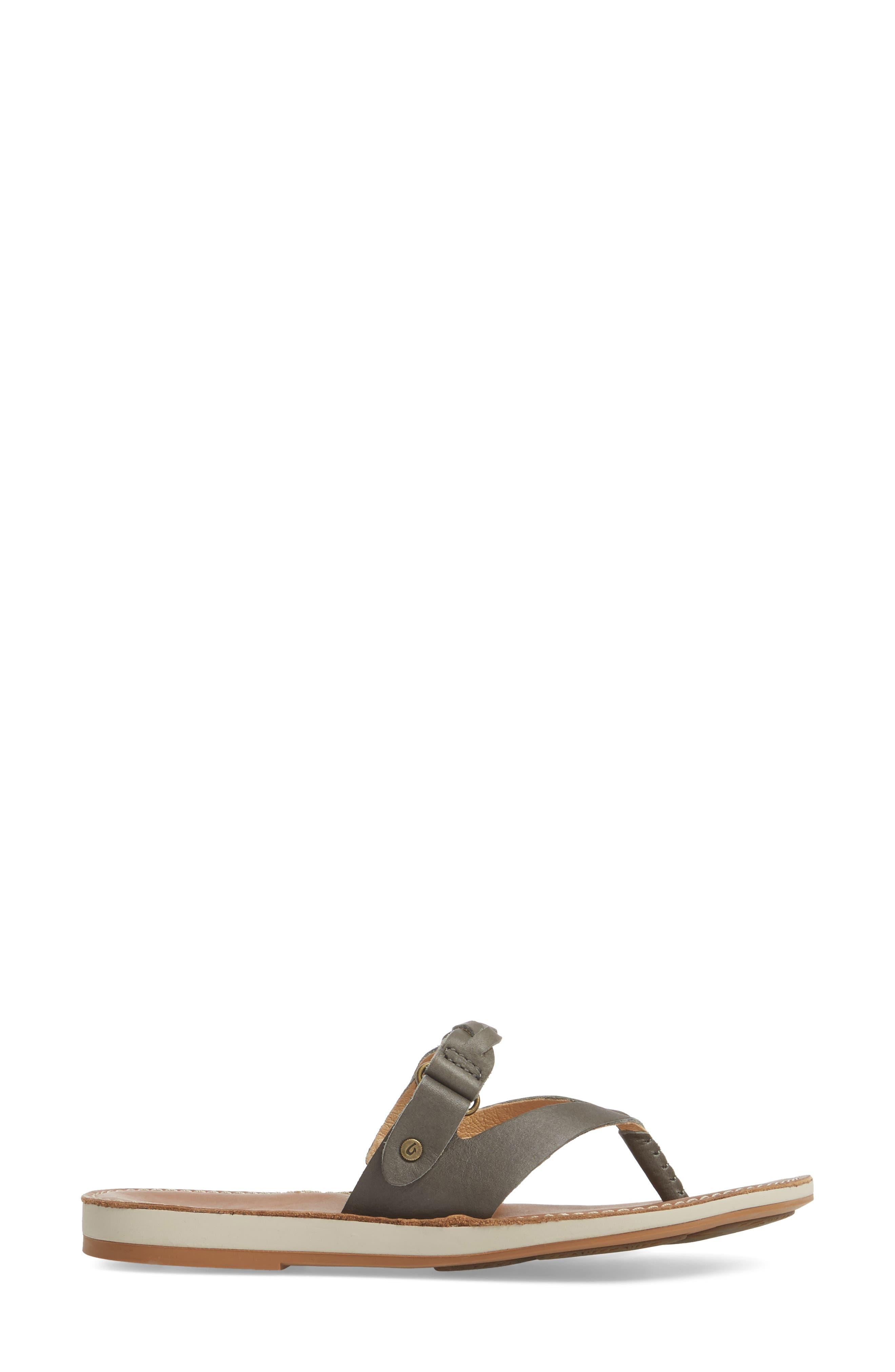 Kahikolu Flip Flop,                             Alternate thumbnail 3, color,                             SLATE/ TAN LEATHER