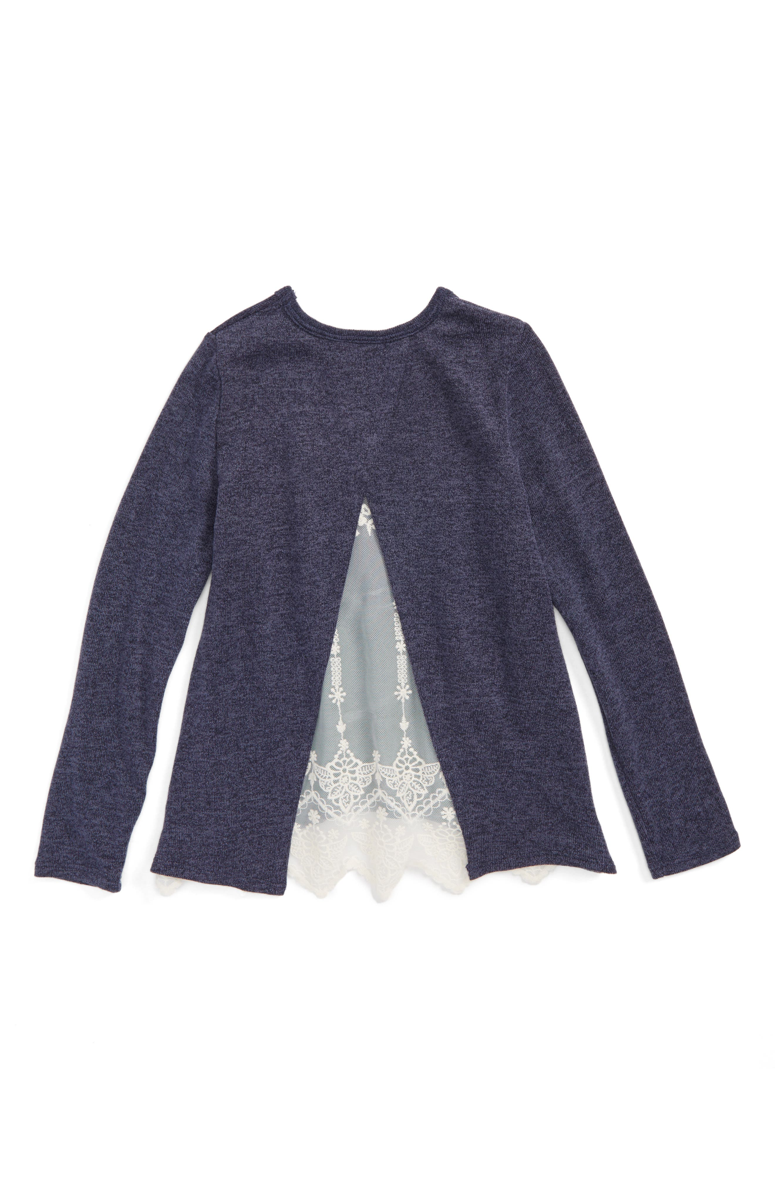 Lace Back Sweater,                             Alternate thumbnail 3, color,