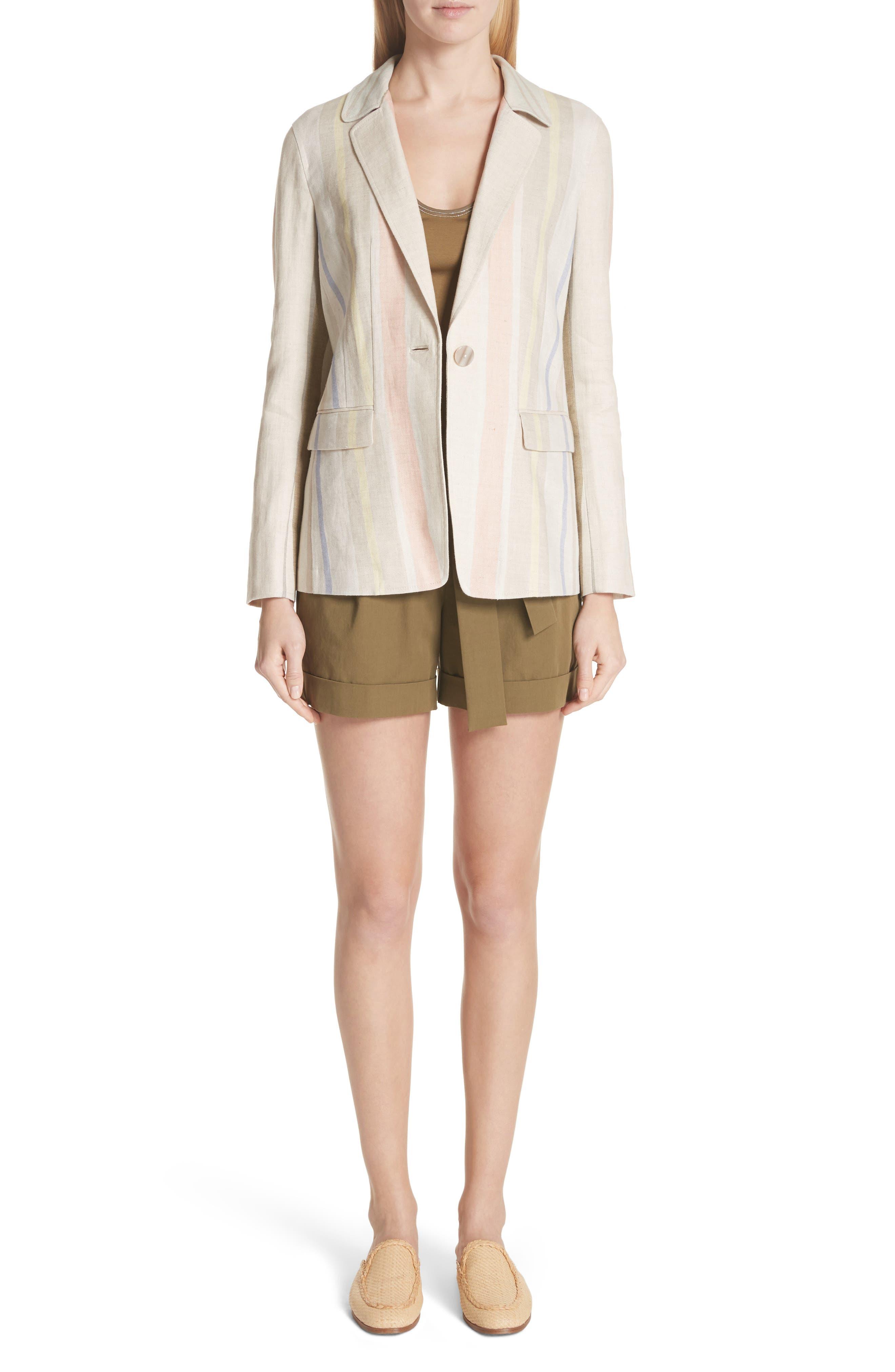 Marie Stripe Linen Jacket,                             Alternate thumbnail 7, color,