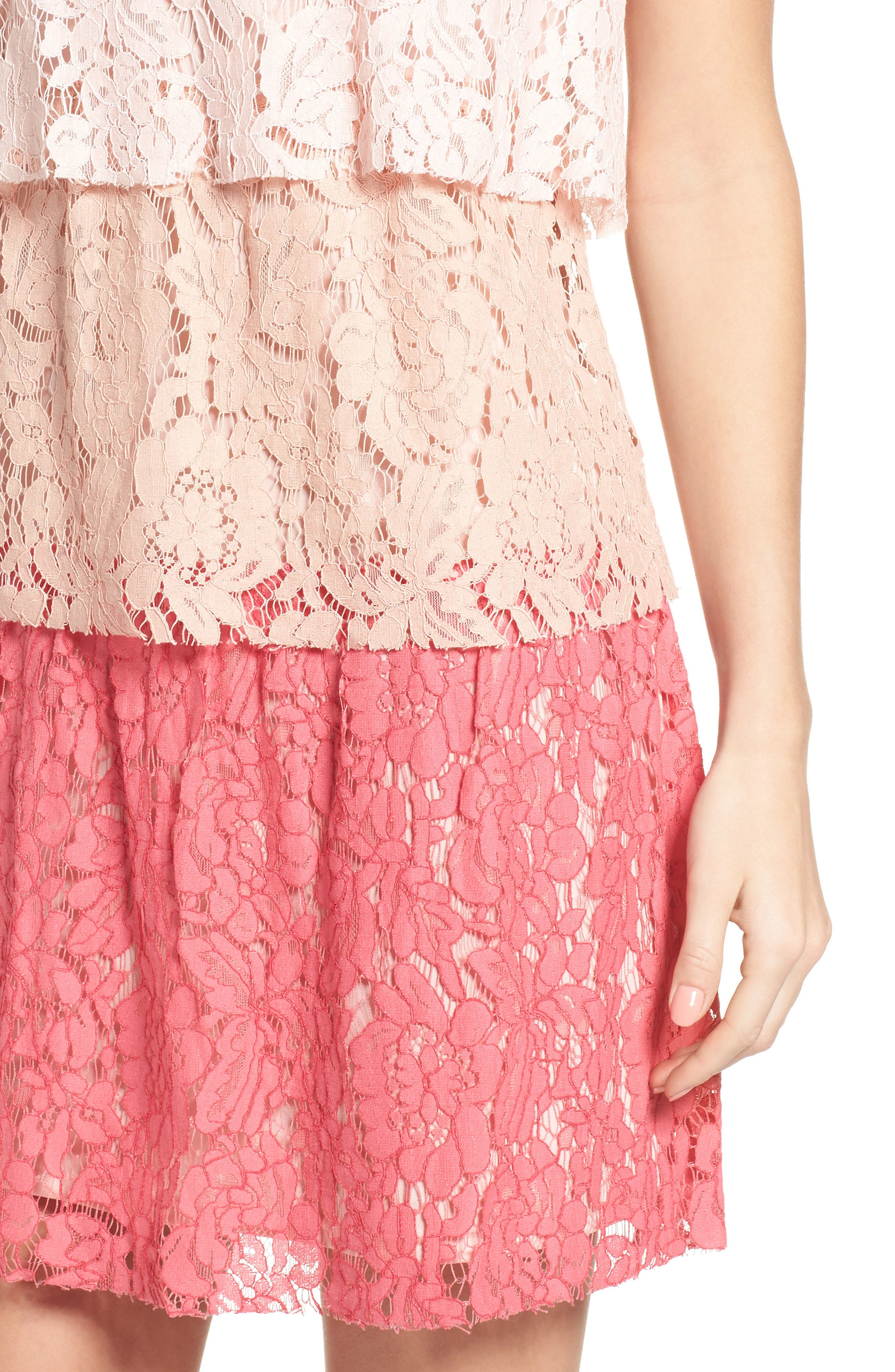 Sleeveless Tiered Lace Dress,                             Alternate thumbnail 4, color,