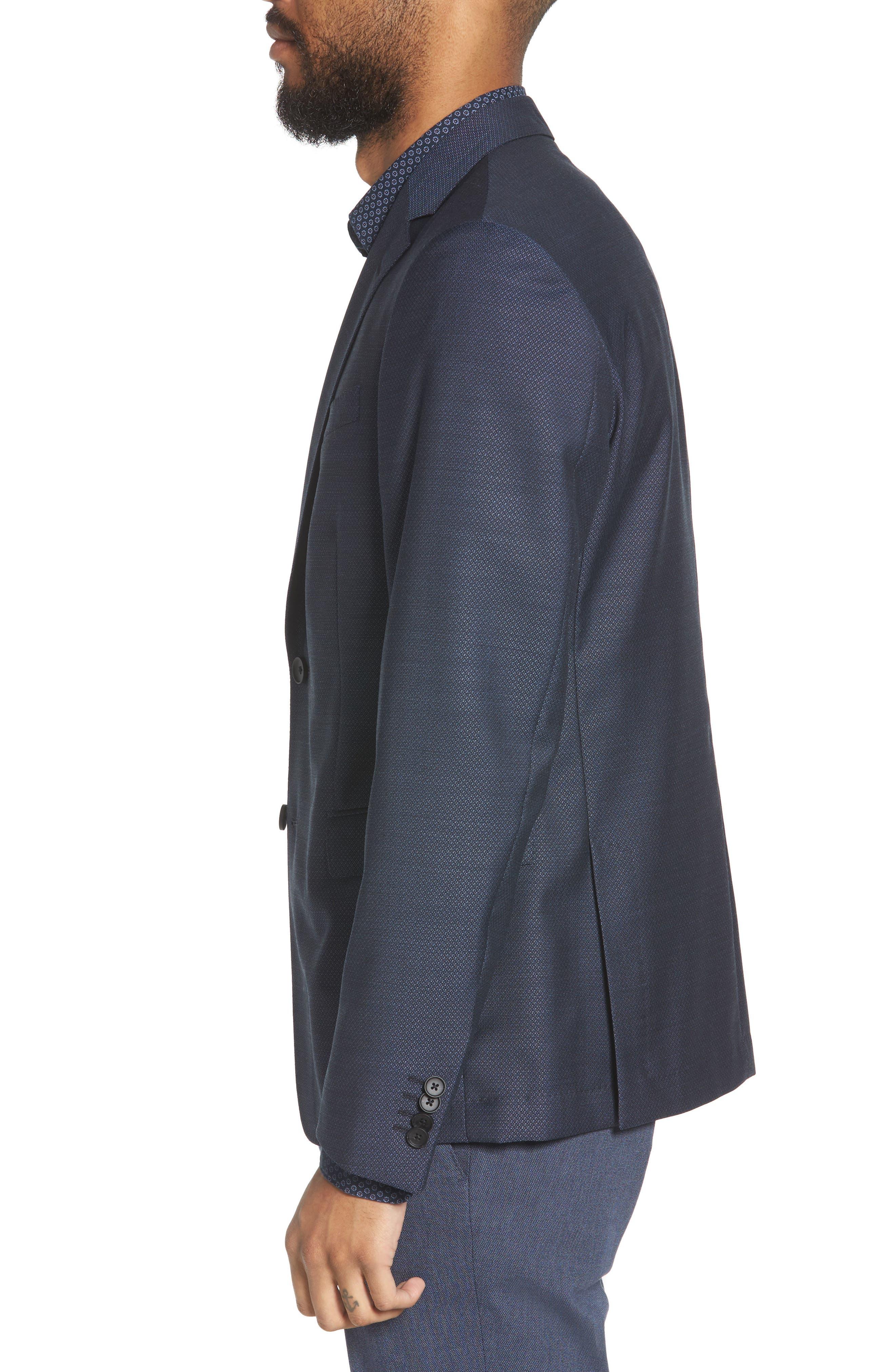 Nobis Trim Fit Wool Blazer,                             Alternate thumbnail 3, color,                             BLUE