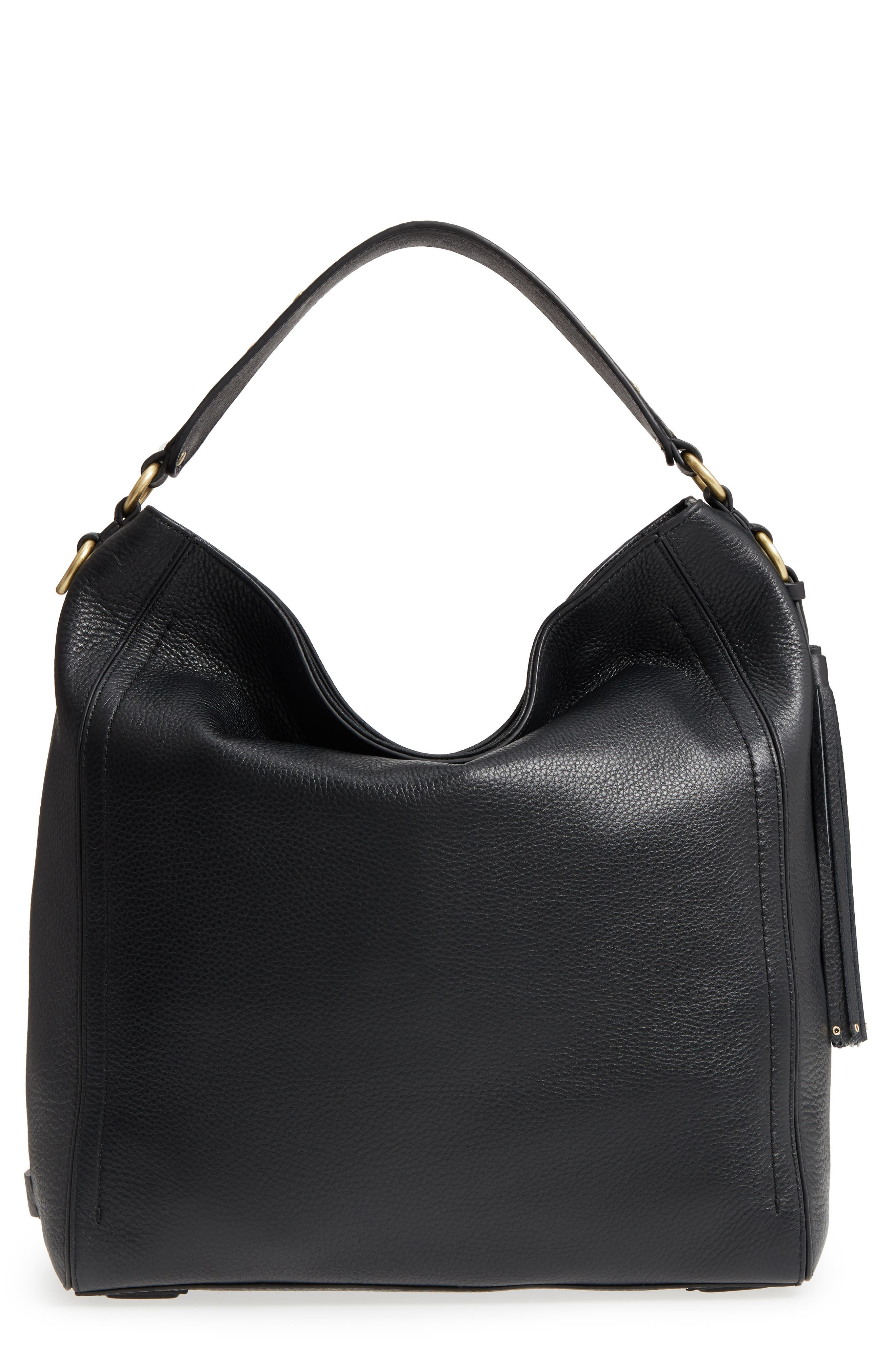 Cassidy RFID Pebbled Leather Bucket Bag,                         Main,                         color, 001