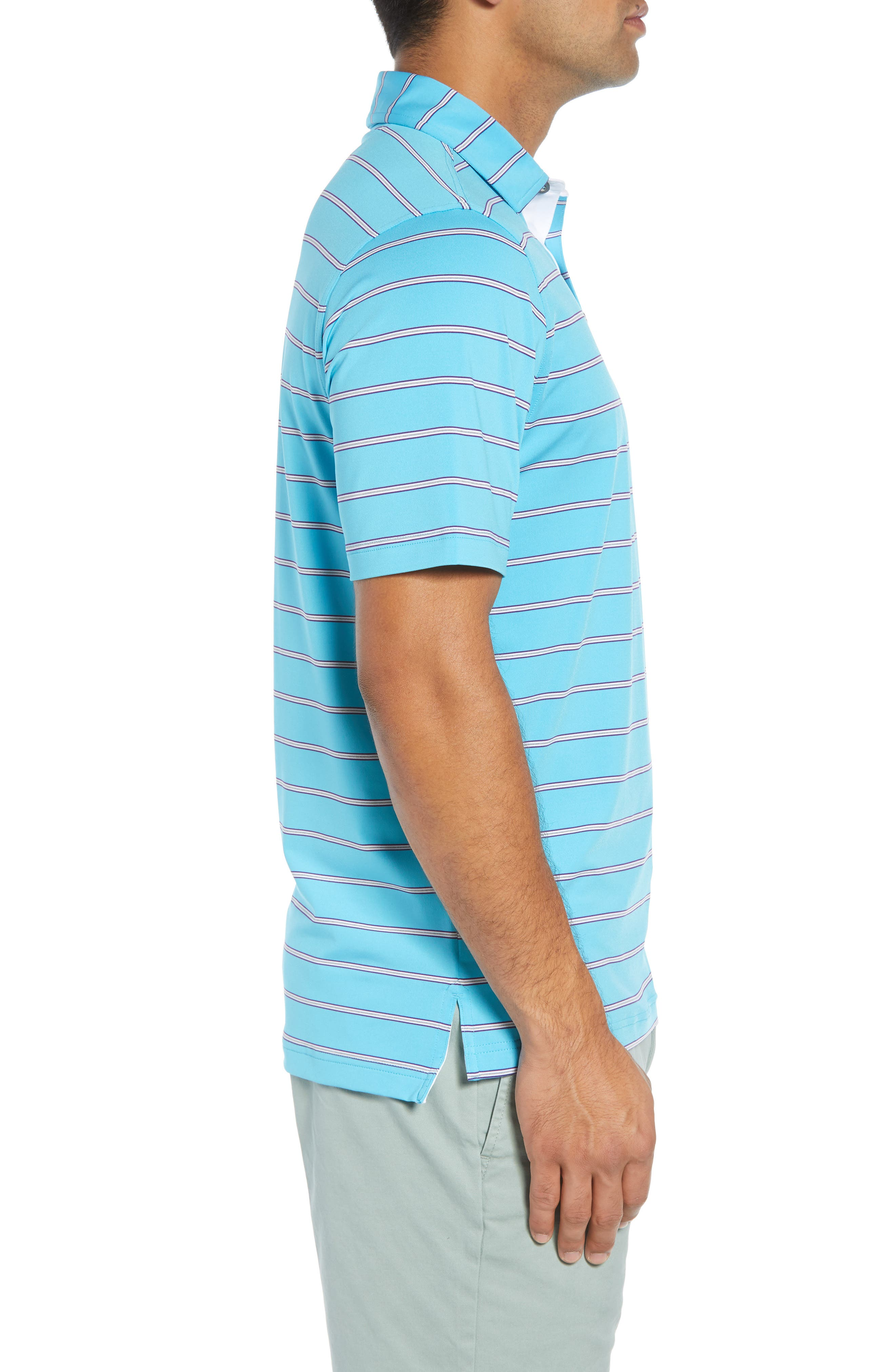 Ferry Stripe Classic Fit Golf Polo,                             Alternate thumbnail 3, color,                             BLUE