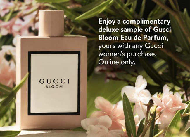 Enjoy a complimentary deluxe sample of Gucci Bloom Eau de Parfum, yours with any Gucci women's purchase. Online only.